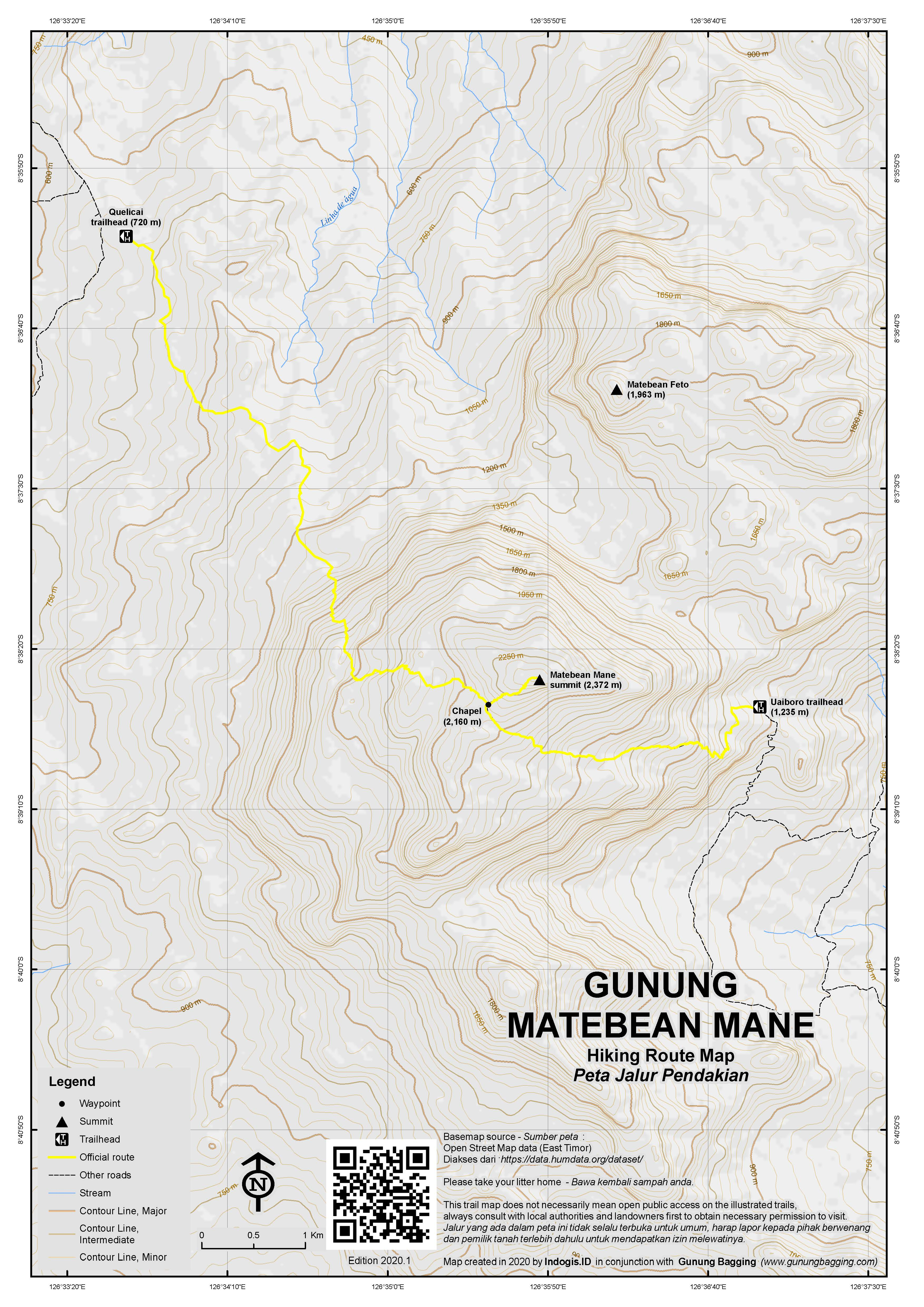 Peta Jalur Pendakian Gunung Matebean Mane