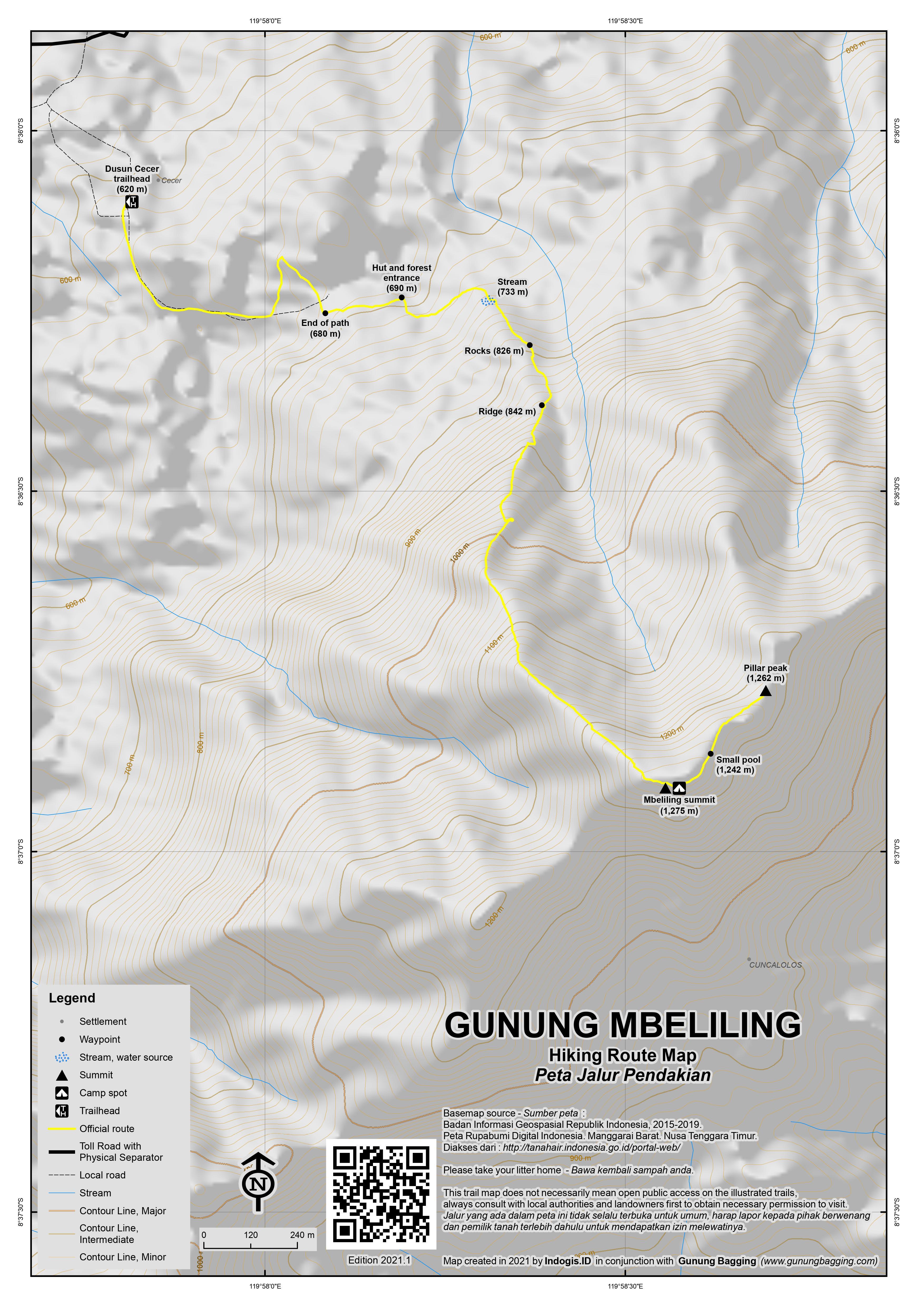Peta Jalur Pendakian Gunung Mbeliling