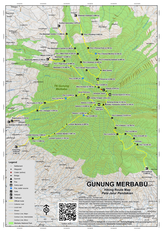 Peta Jalur Pendakian Gunung Merbabu