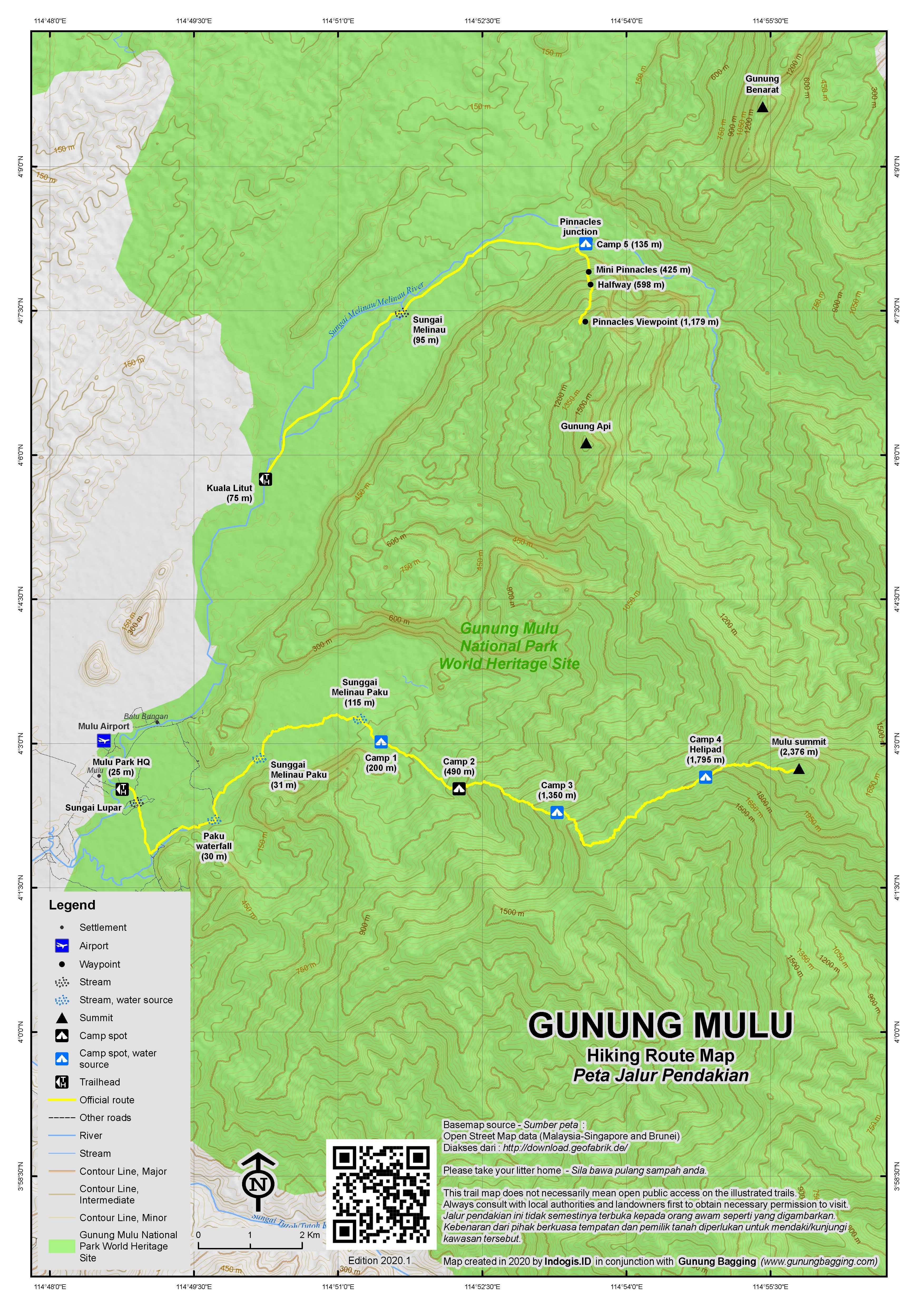 Peta Jalur Pendakian Gunung Mulu