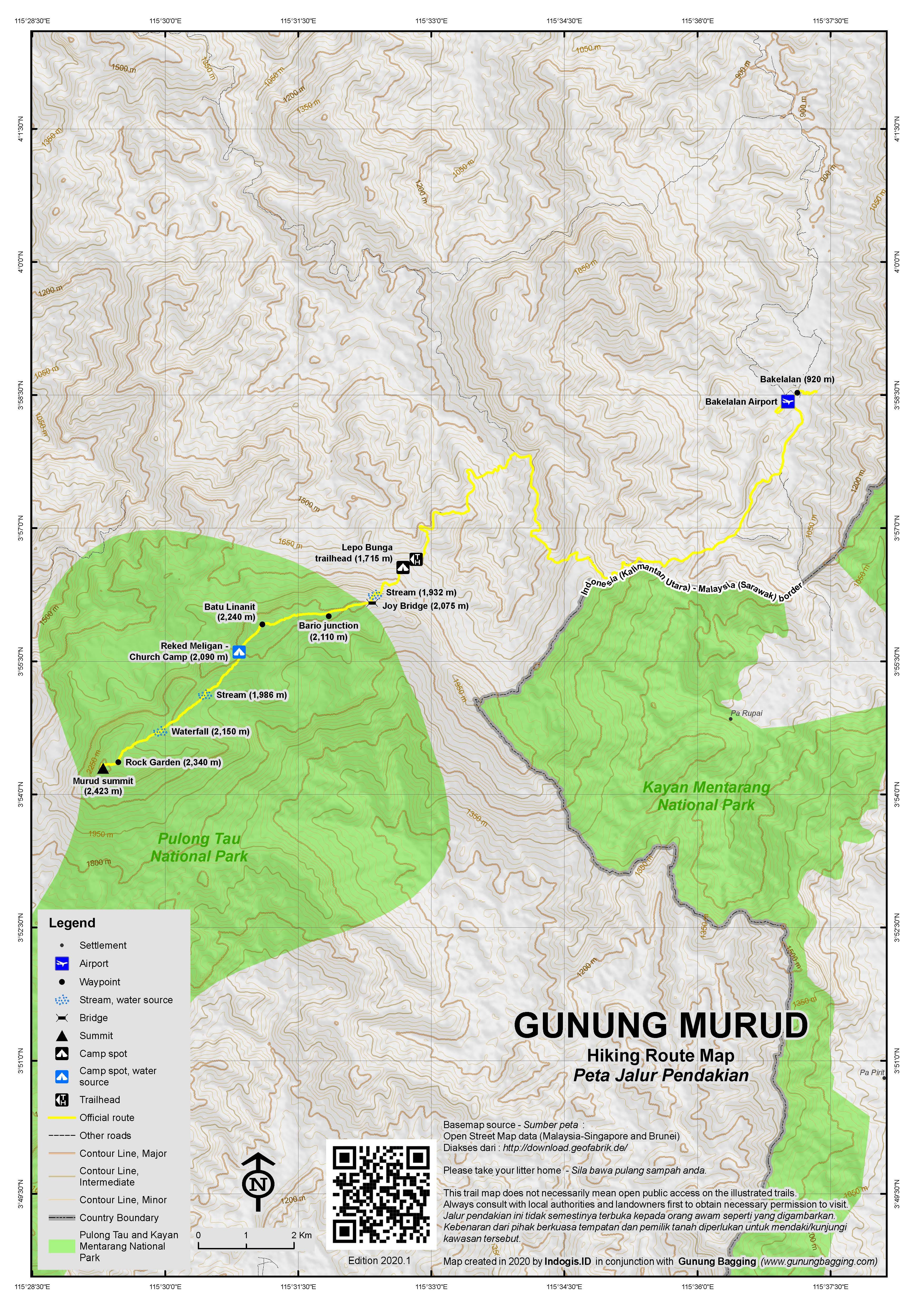 Peta Jalur Pendakian Gunung Murud