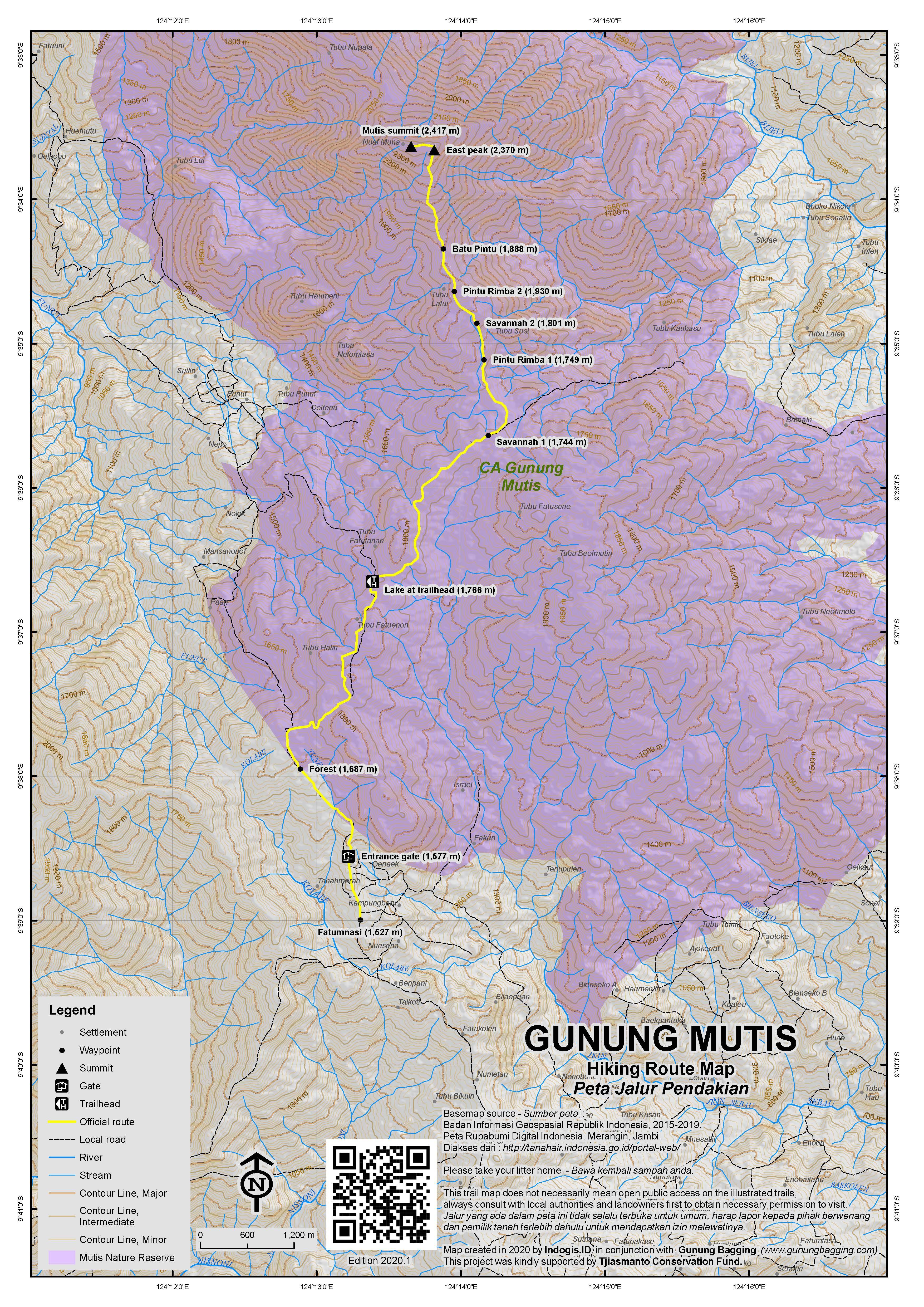 Peta Jalur Pendakian Gunung Mutis