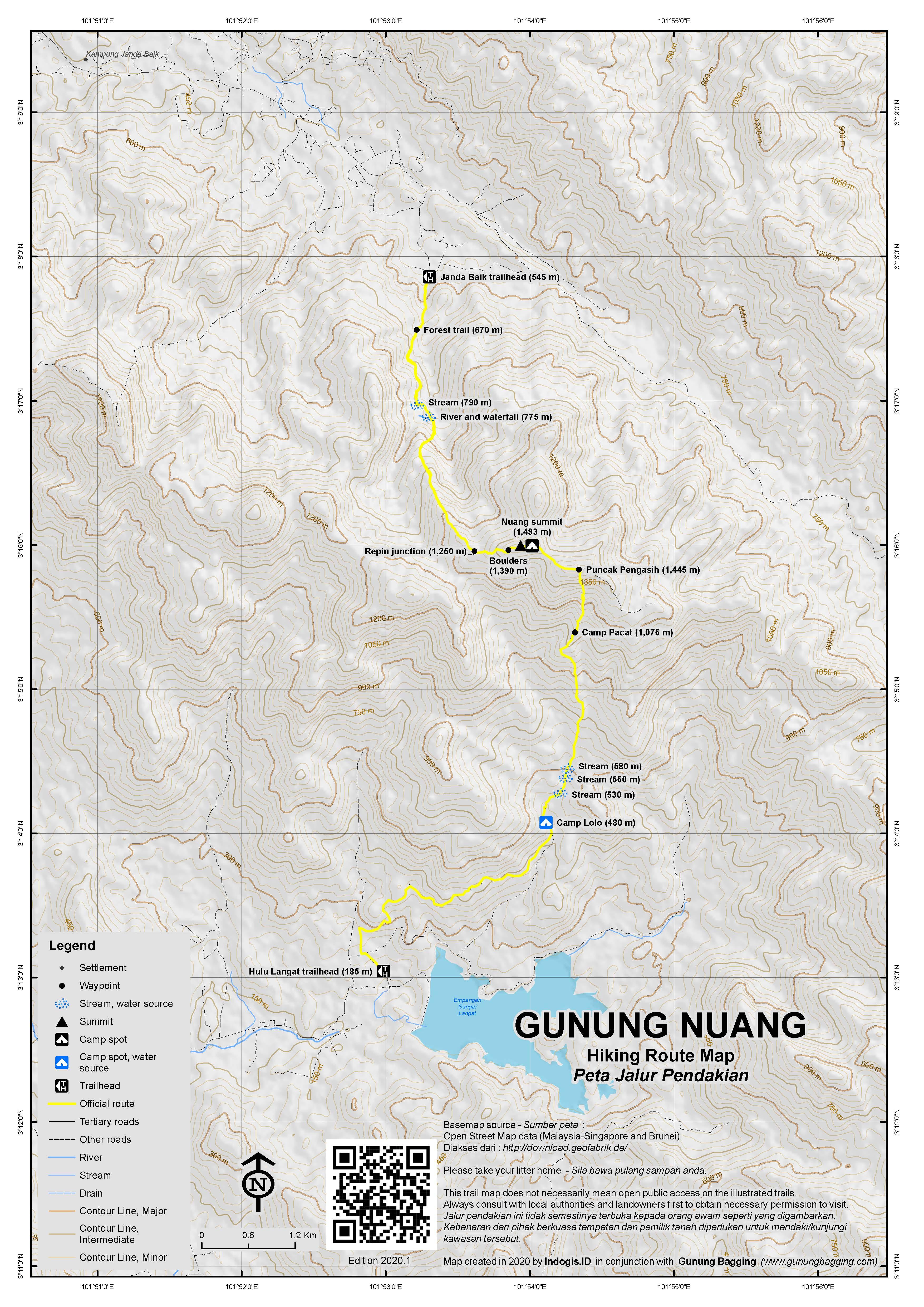 Peta Jalur Pendakian Gunung Nuang