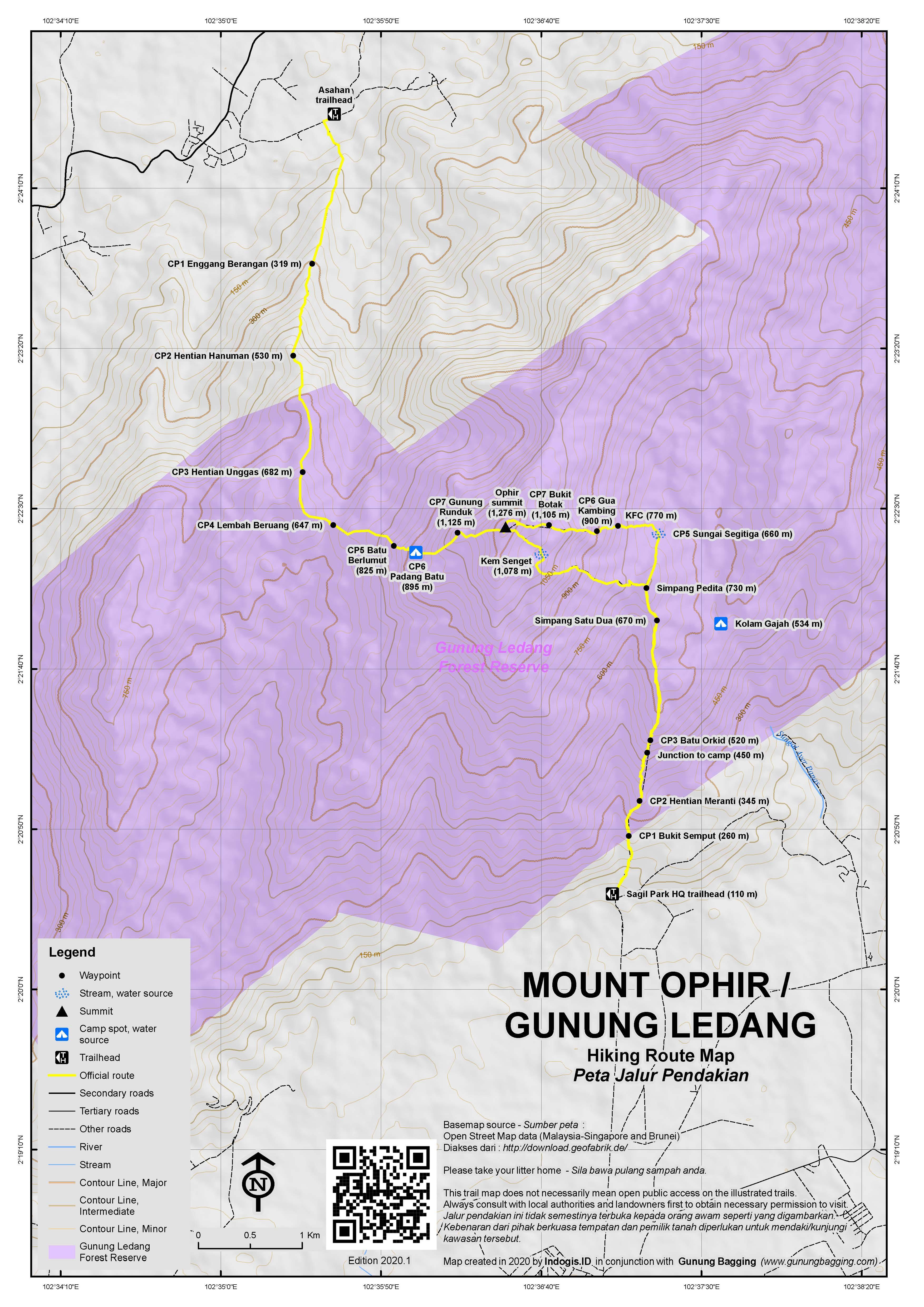Peta Jalur Pendakian Gunung Ophir / Ledang