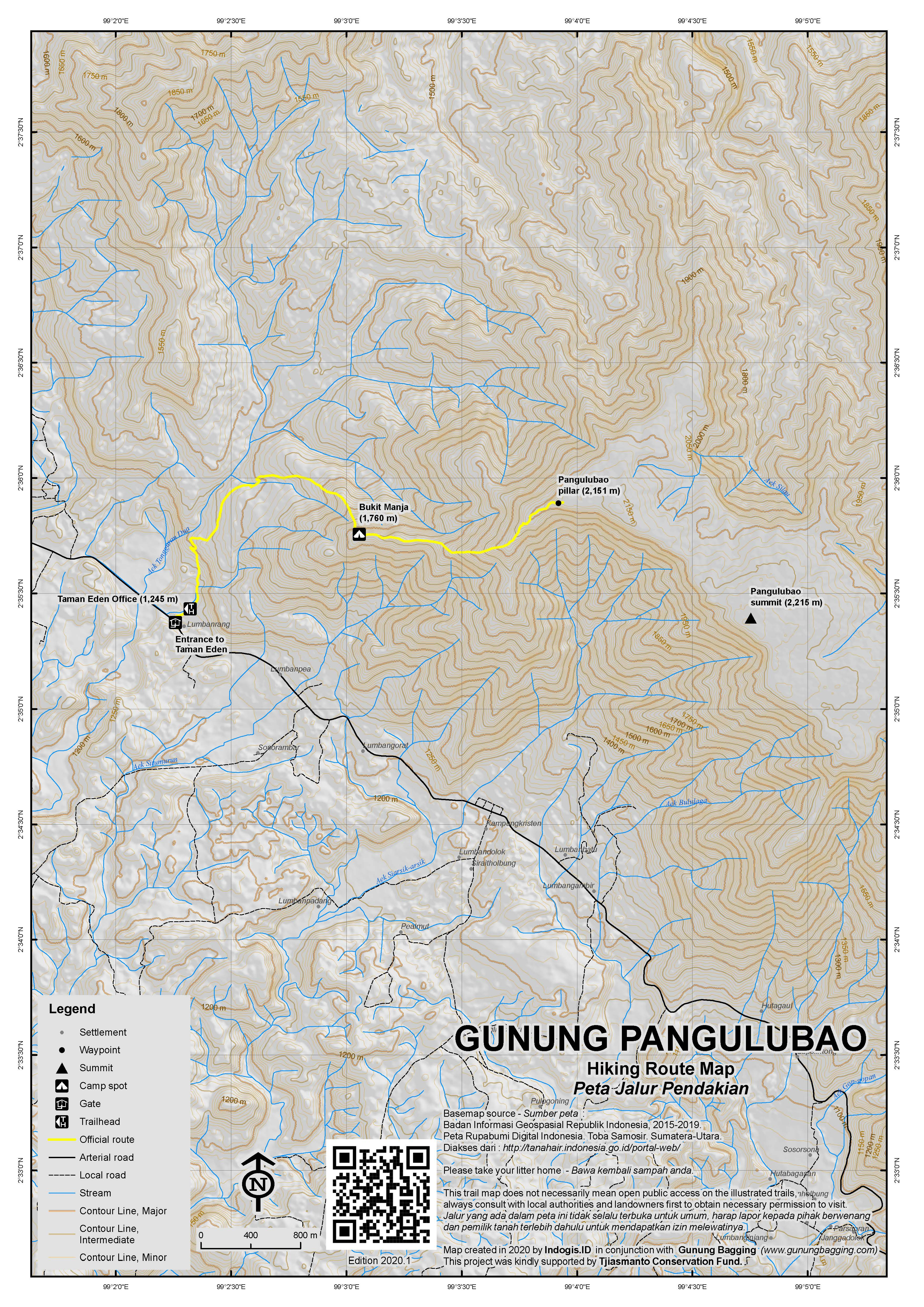 Peta Jalur Pendakian Gunung Pangulubao