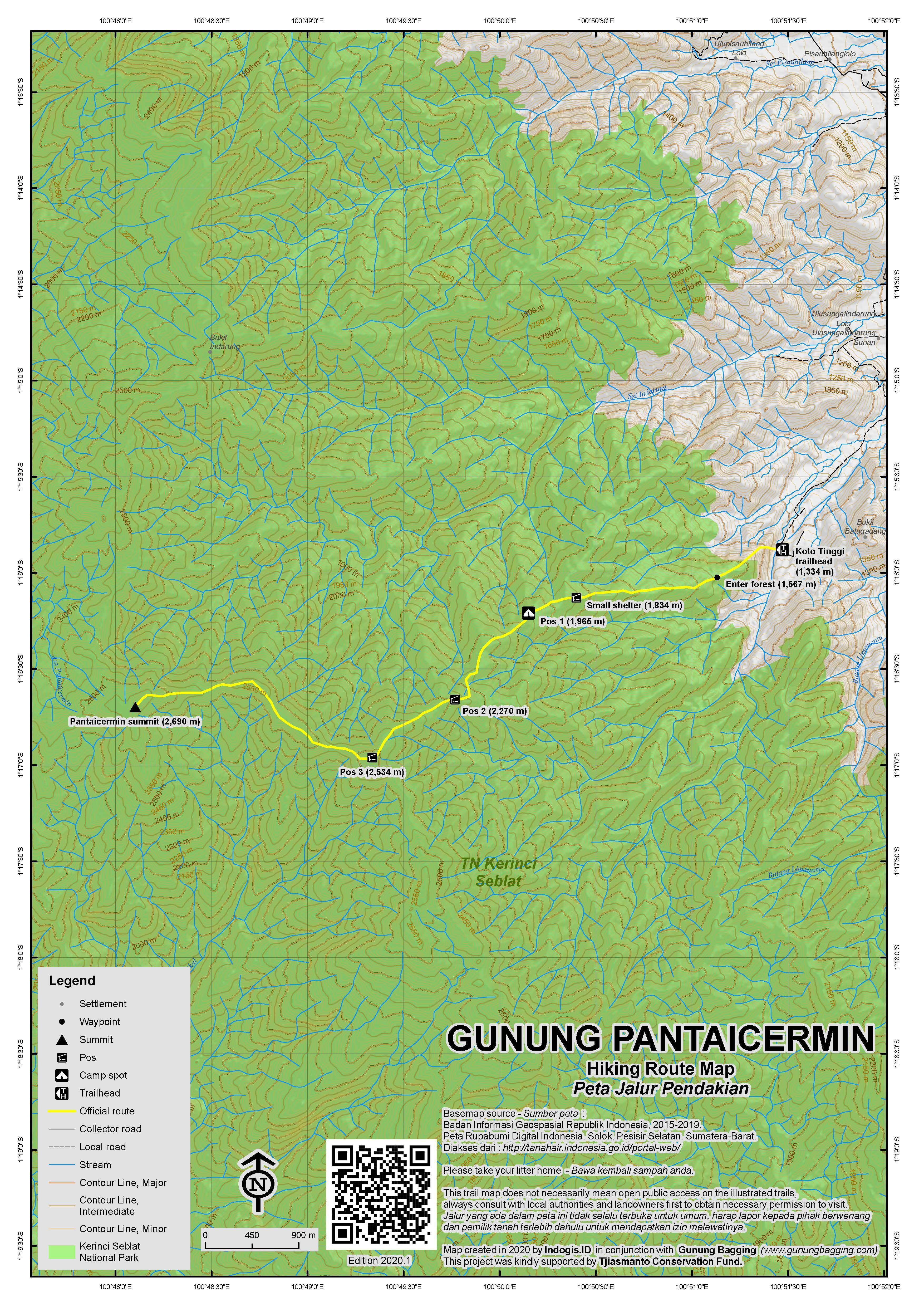 Peta Jalur Pendakian Gunung Pantaicermin
