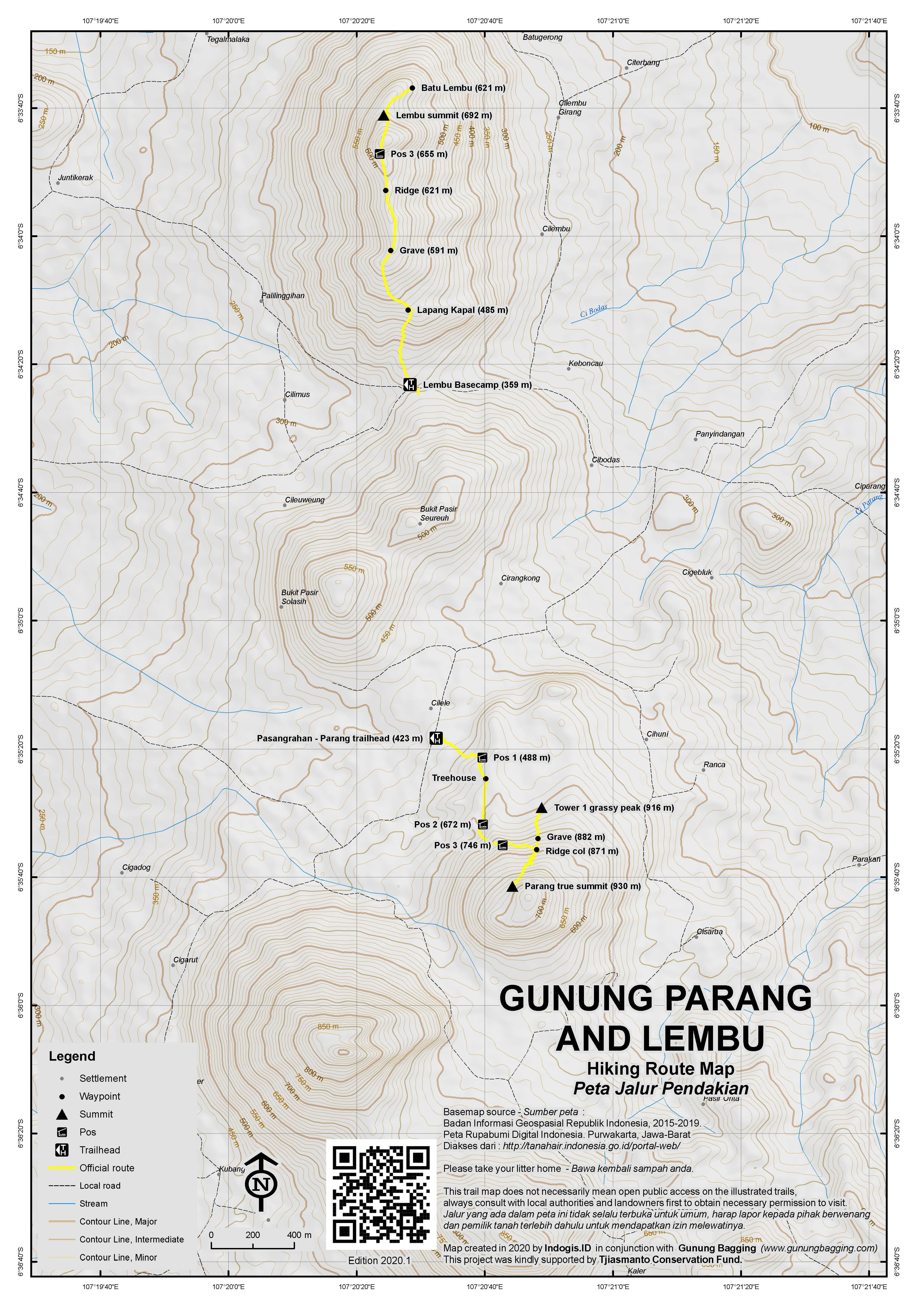 Peta Jalur Pendakian Gunung Parang