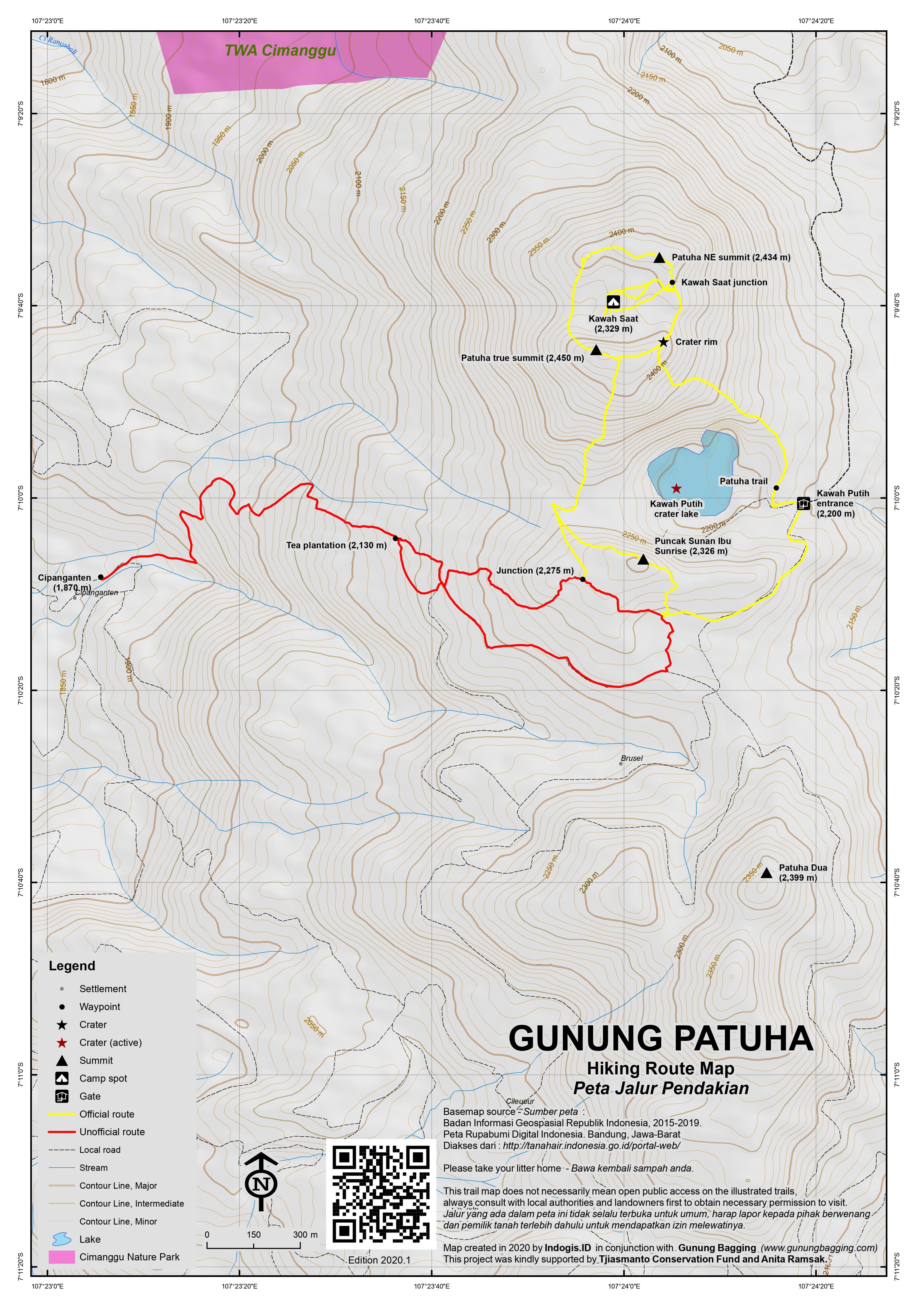 Peta Jalur Pendakian Gunung Patuha