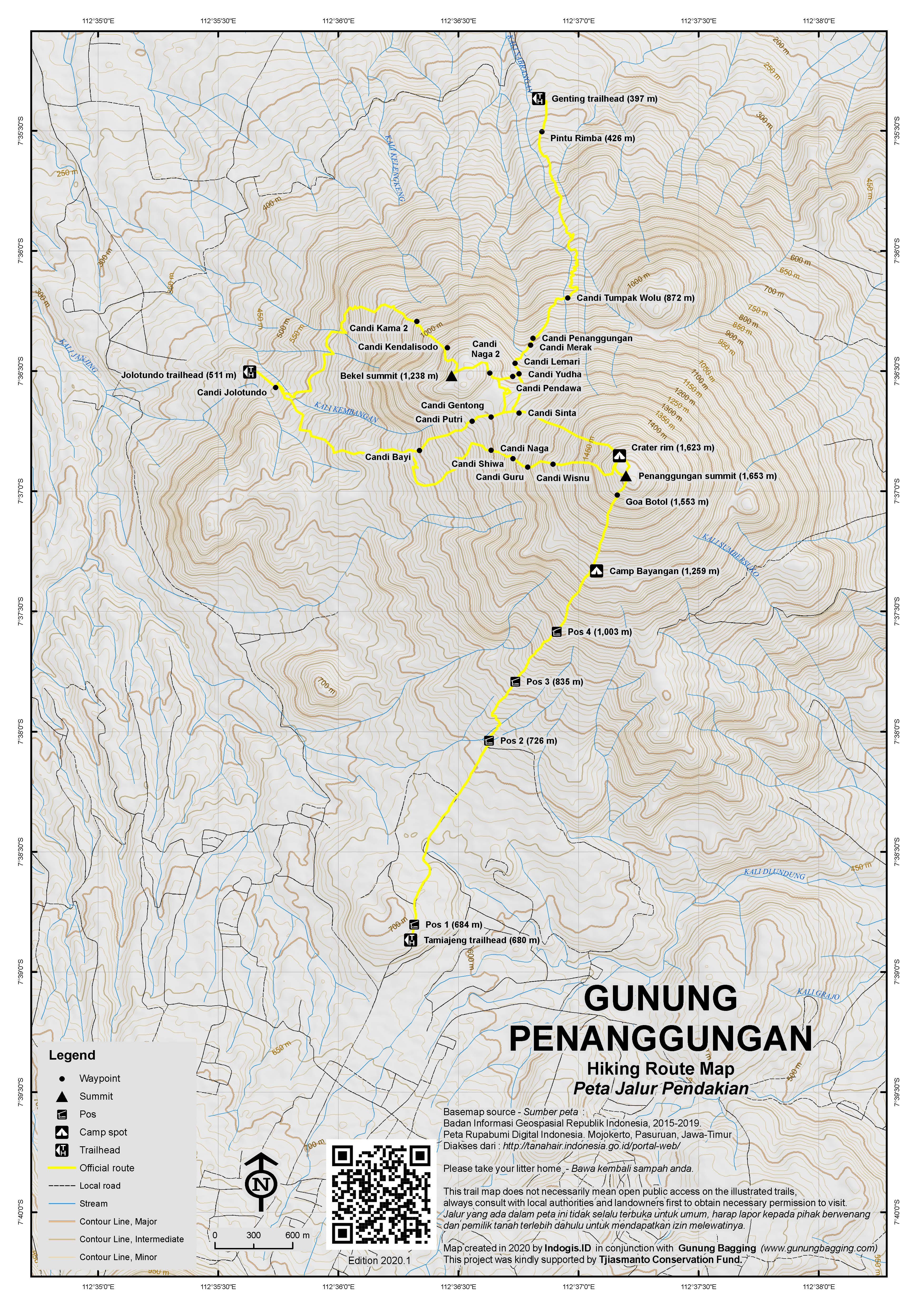 Peta Jalur Pendakian Gunung Penanggungan