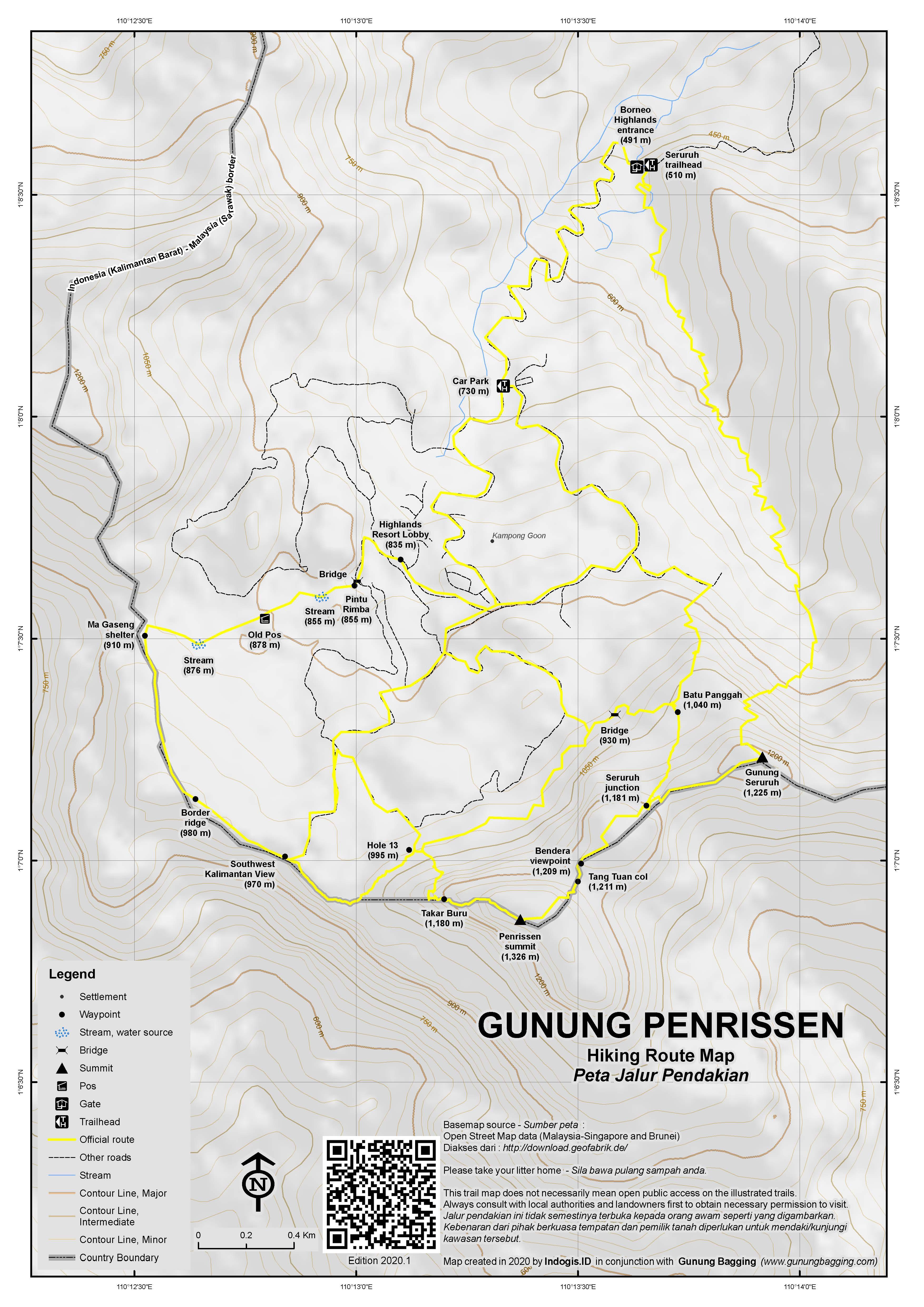 Peta Jalur Pendakian Gunung Penrissen