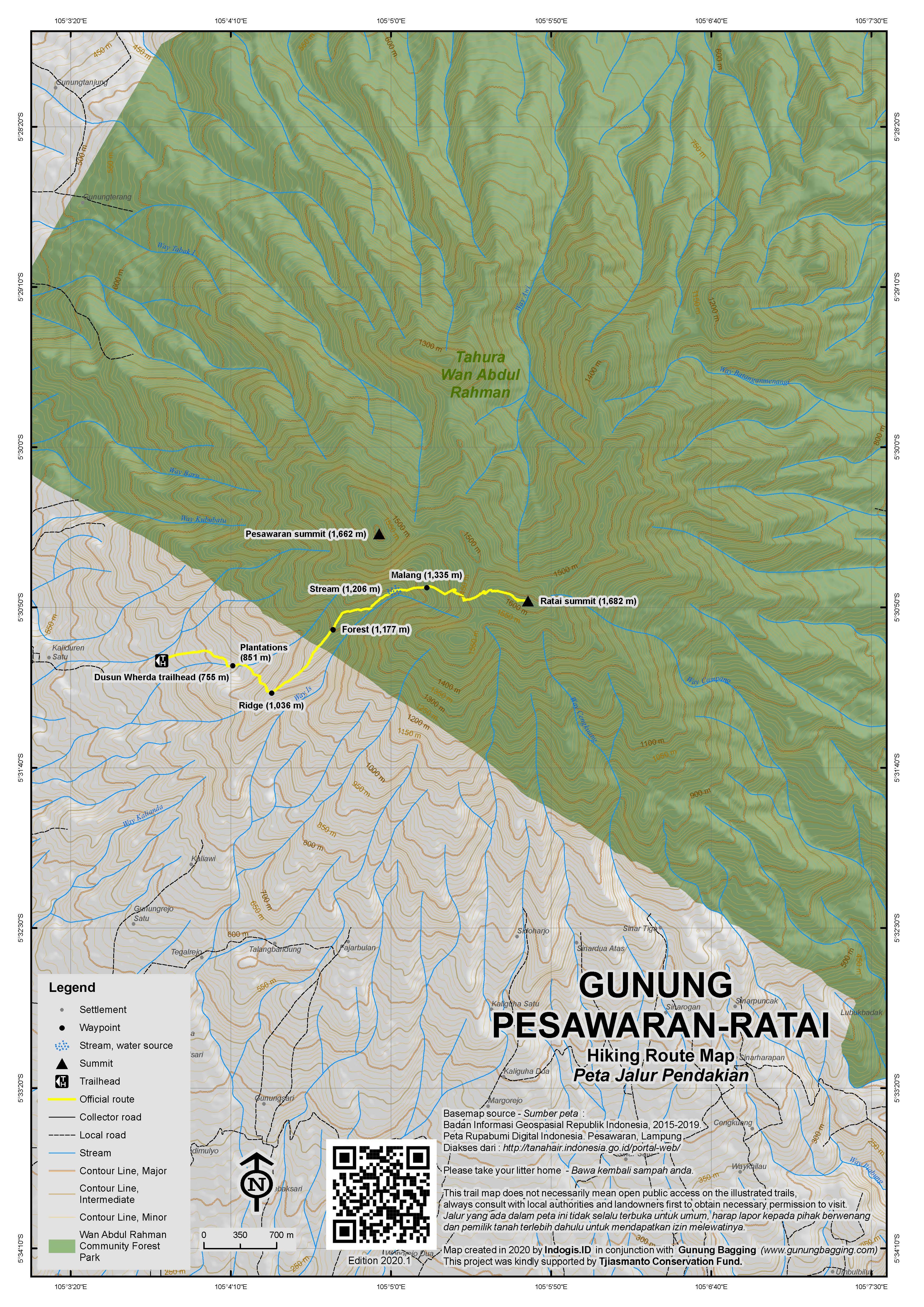 Peta Jalur Pendakian Gunung Pesawaran-Ratai