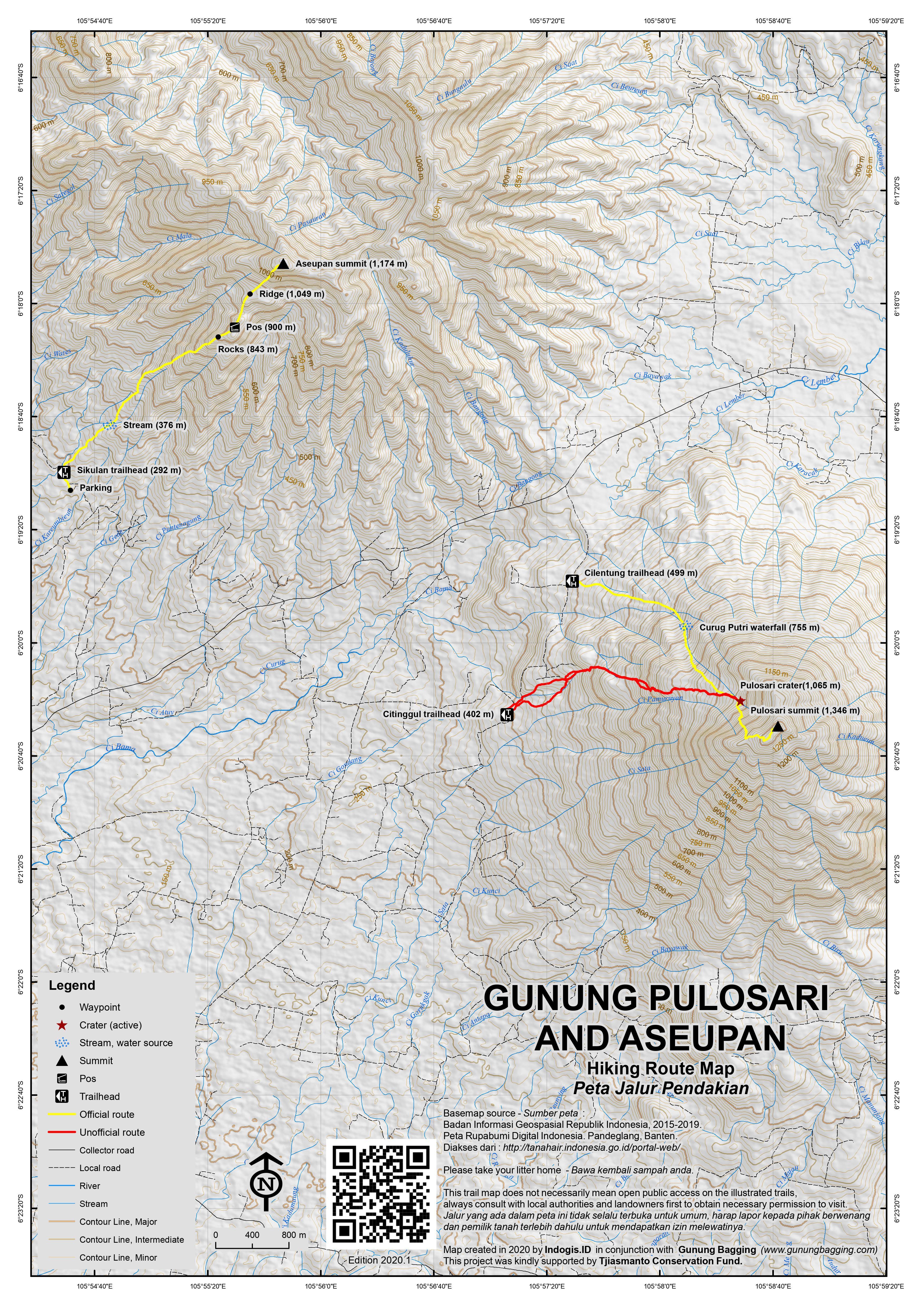 Peta Jalur Pendakian Gunung Pulosari