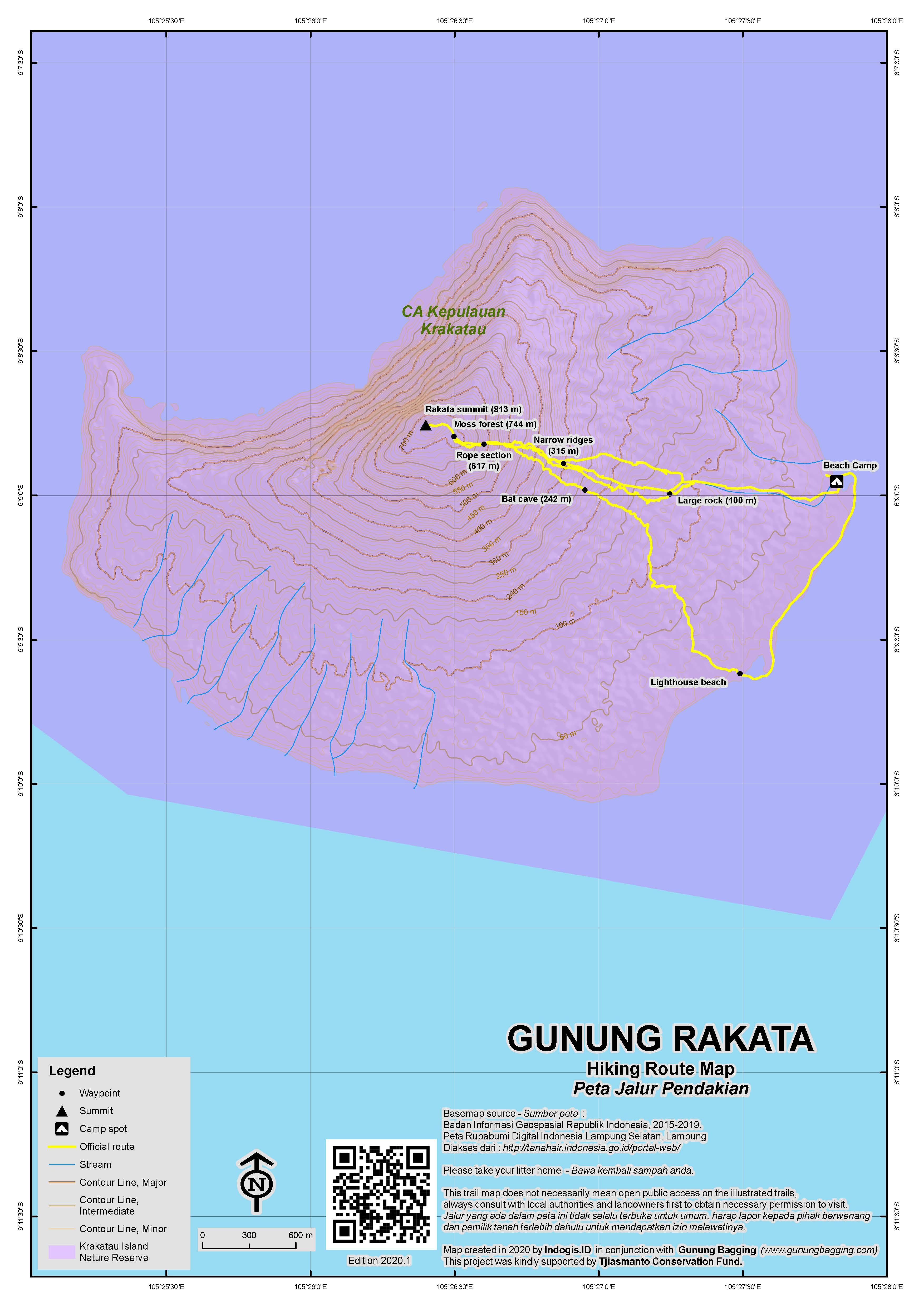 Peta Jalur Pendakian Gunung Rakata