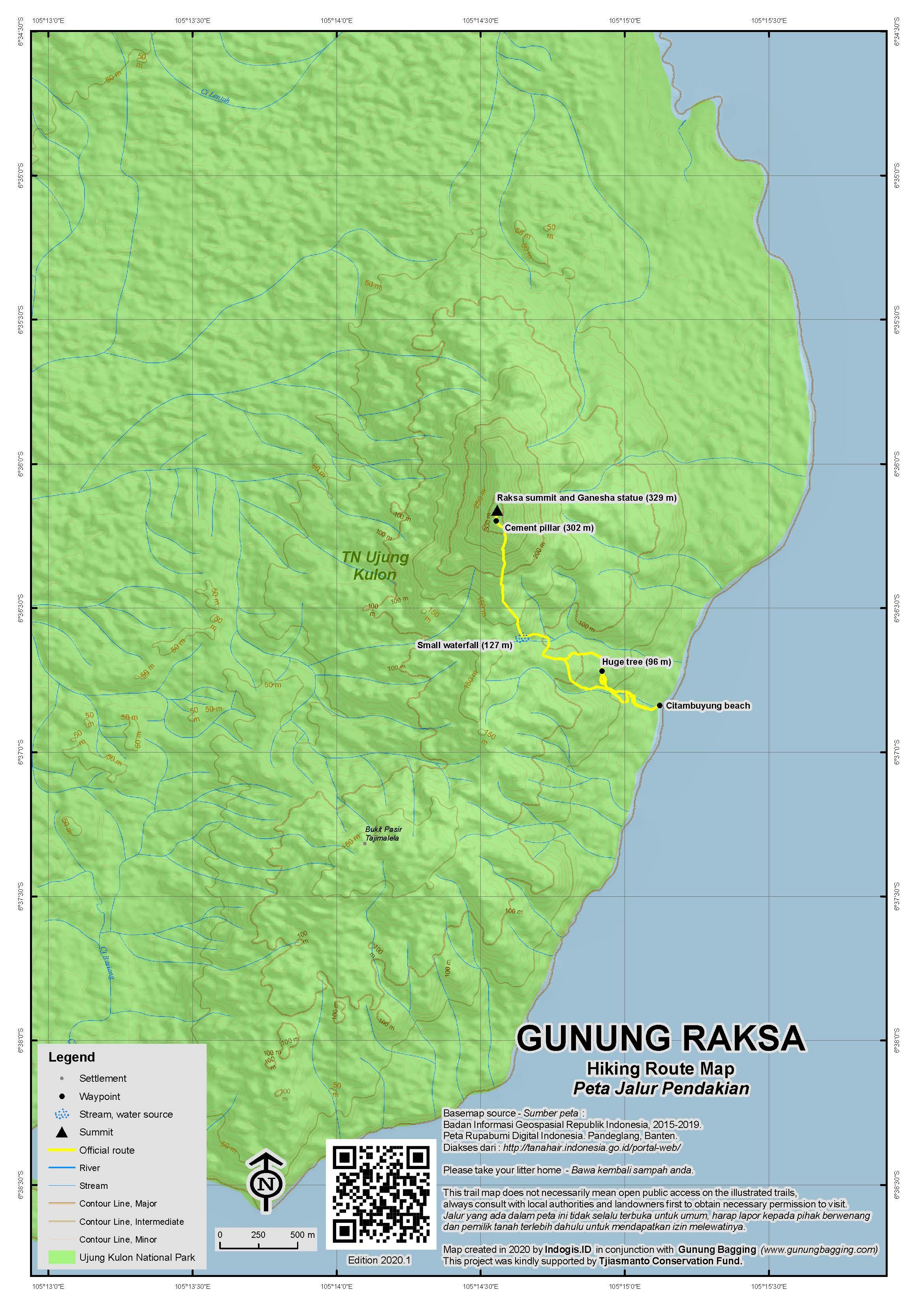 Peta Jalur Pendakian Gunung Raksa