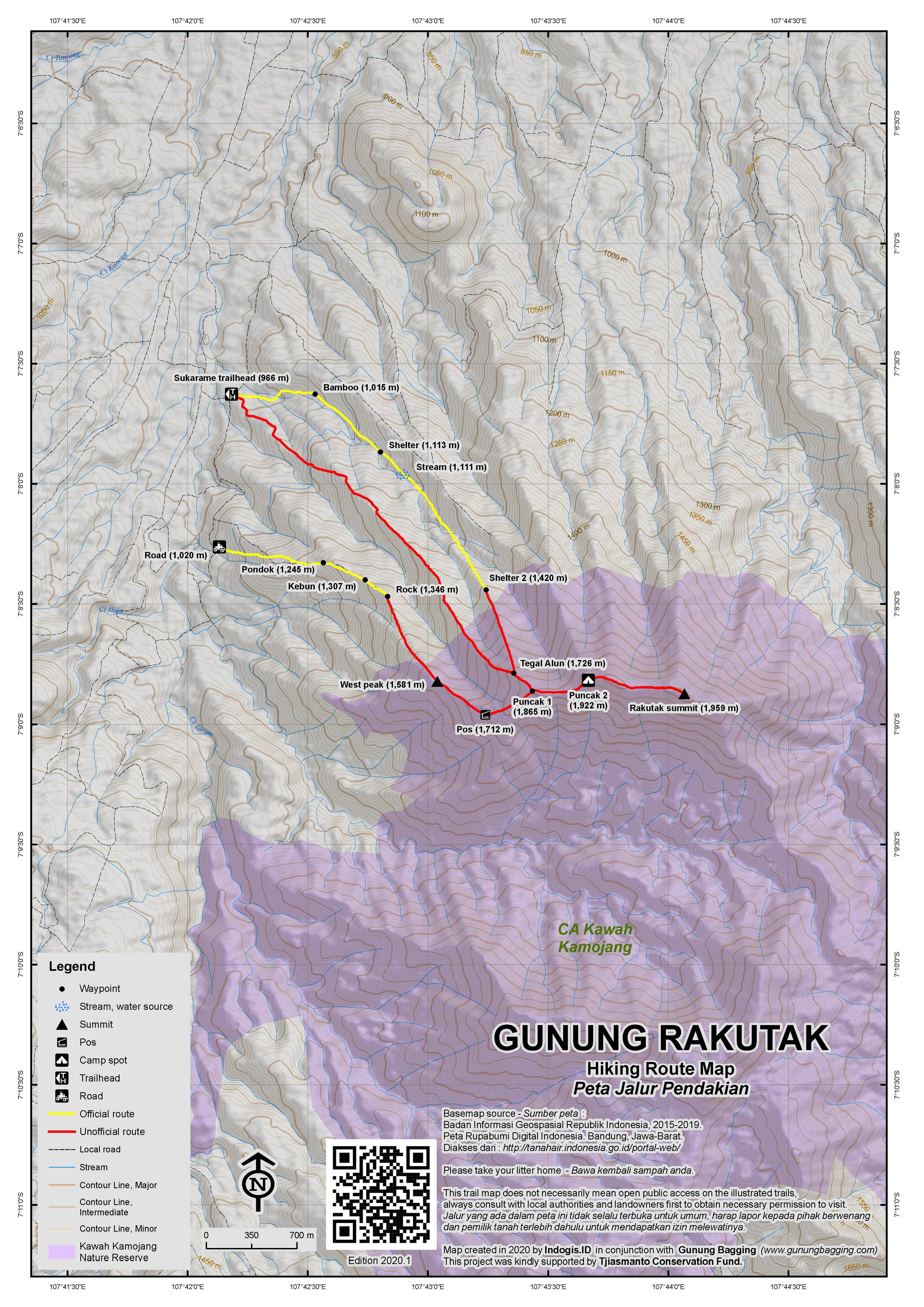 Peta Jalur Pendakian Gunung Rakutak