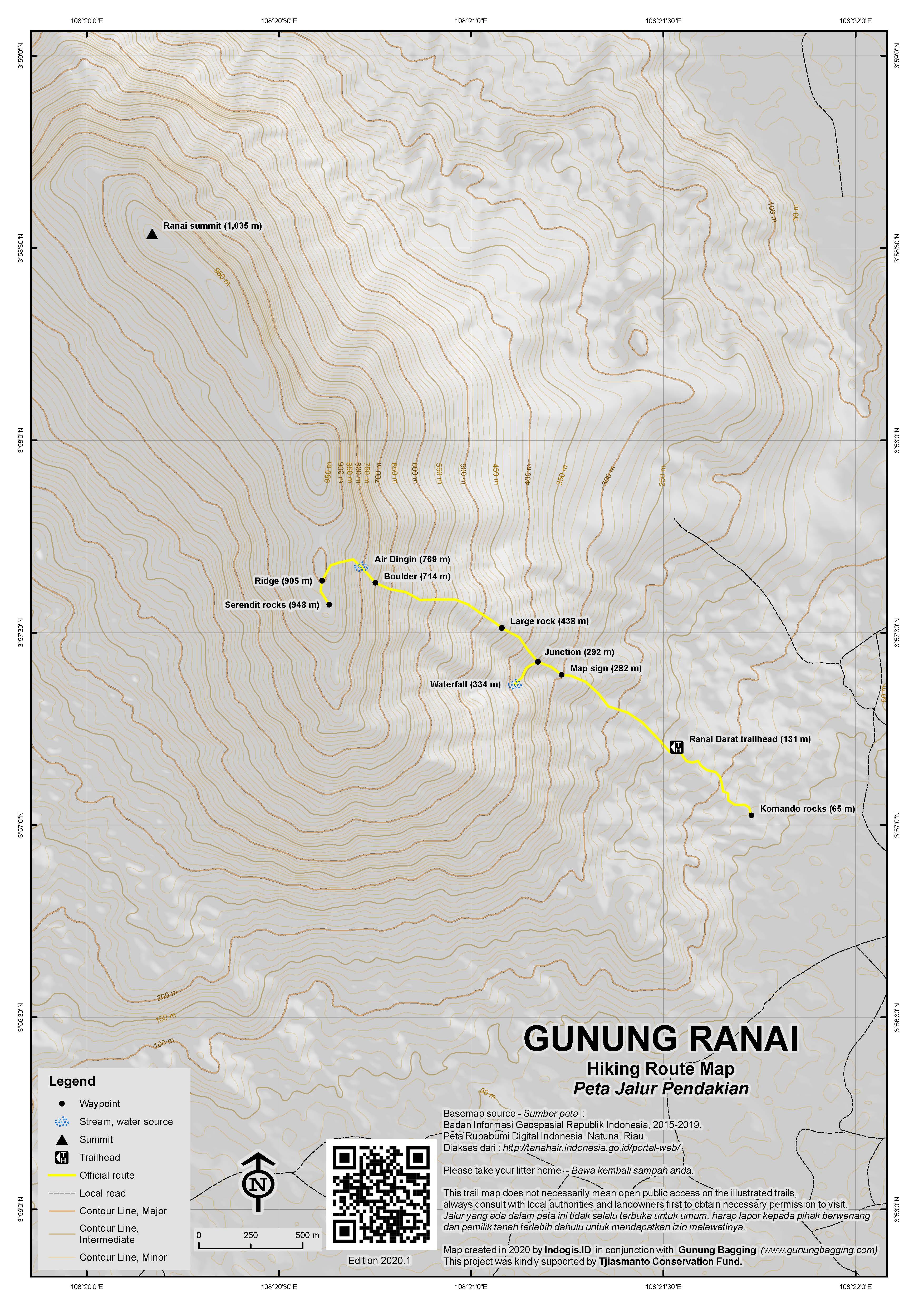 Peta Jalur Pendakian Gunung Ranai