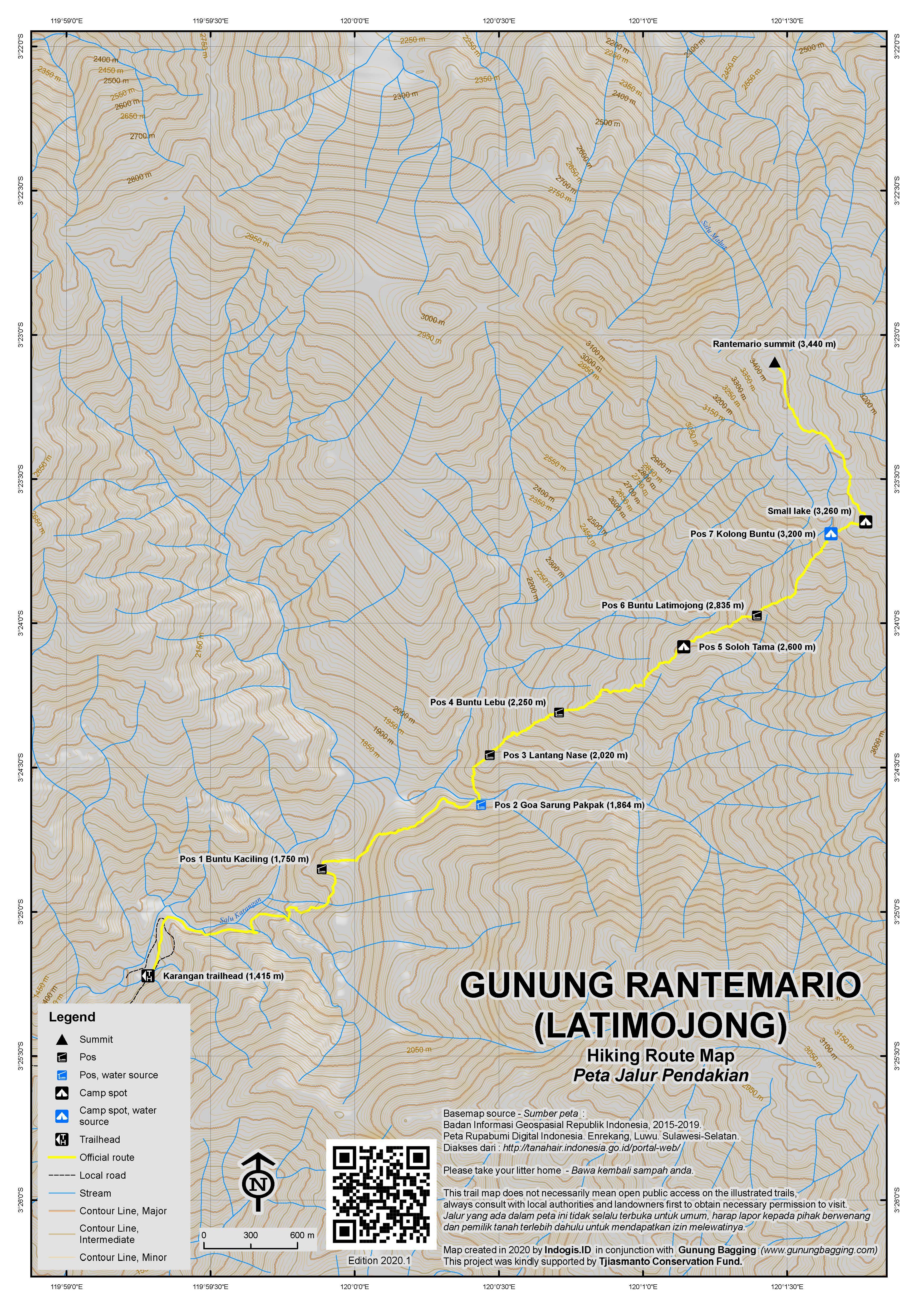 Peta Jalur Pendakian Gunung Rantemario (Latimojong)