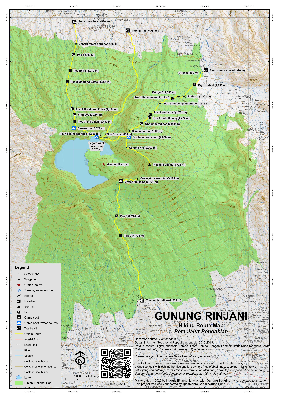Peta Jalur Pendakian Gunung Rinjani