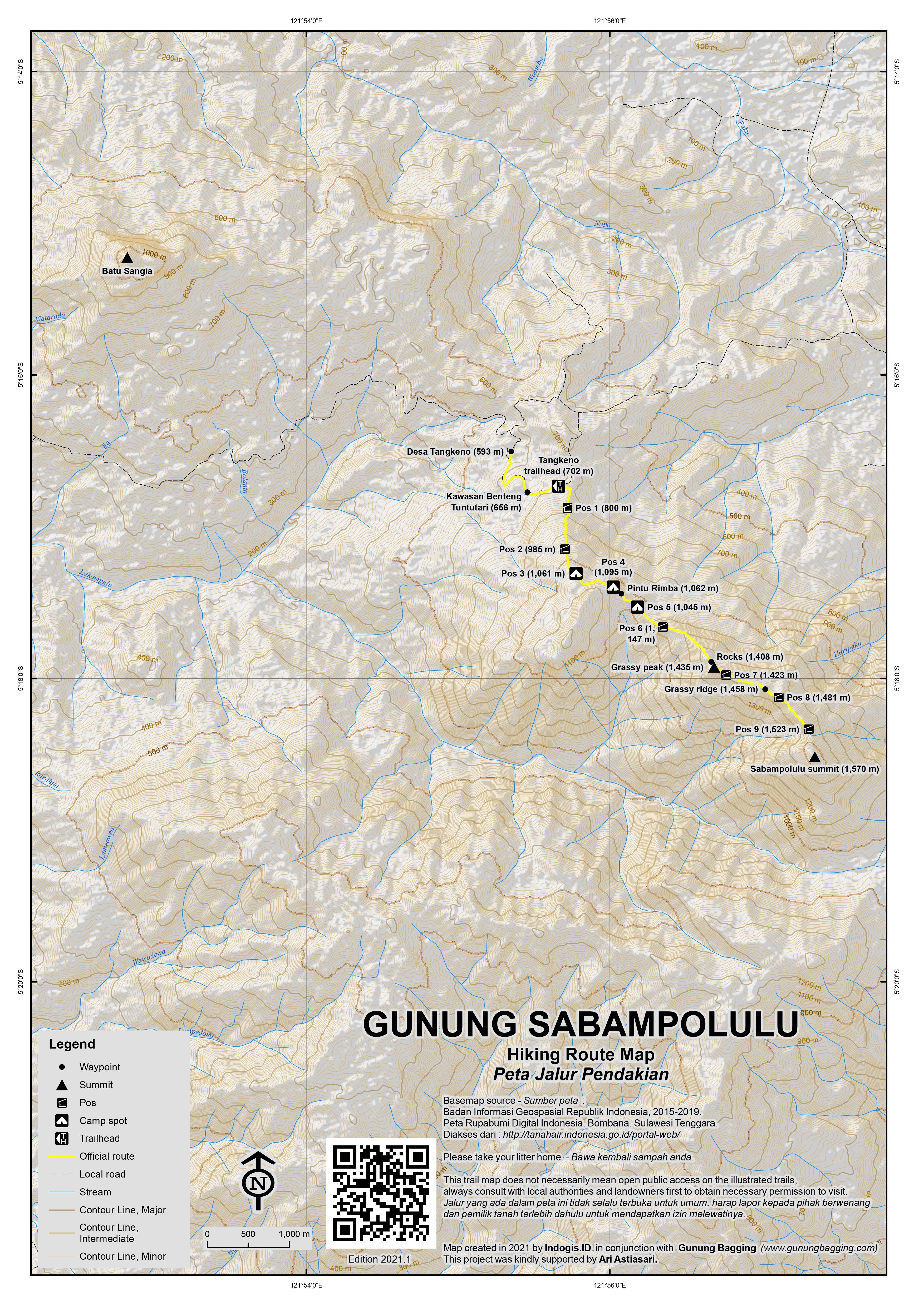Peta Jalur Pendakian Gunung Sabampolulu