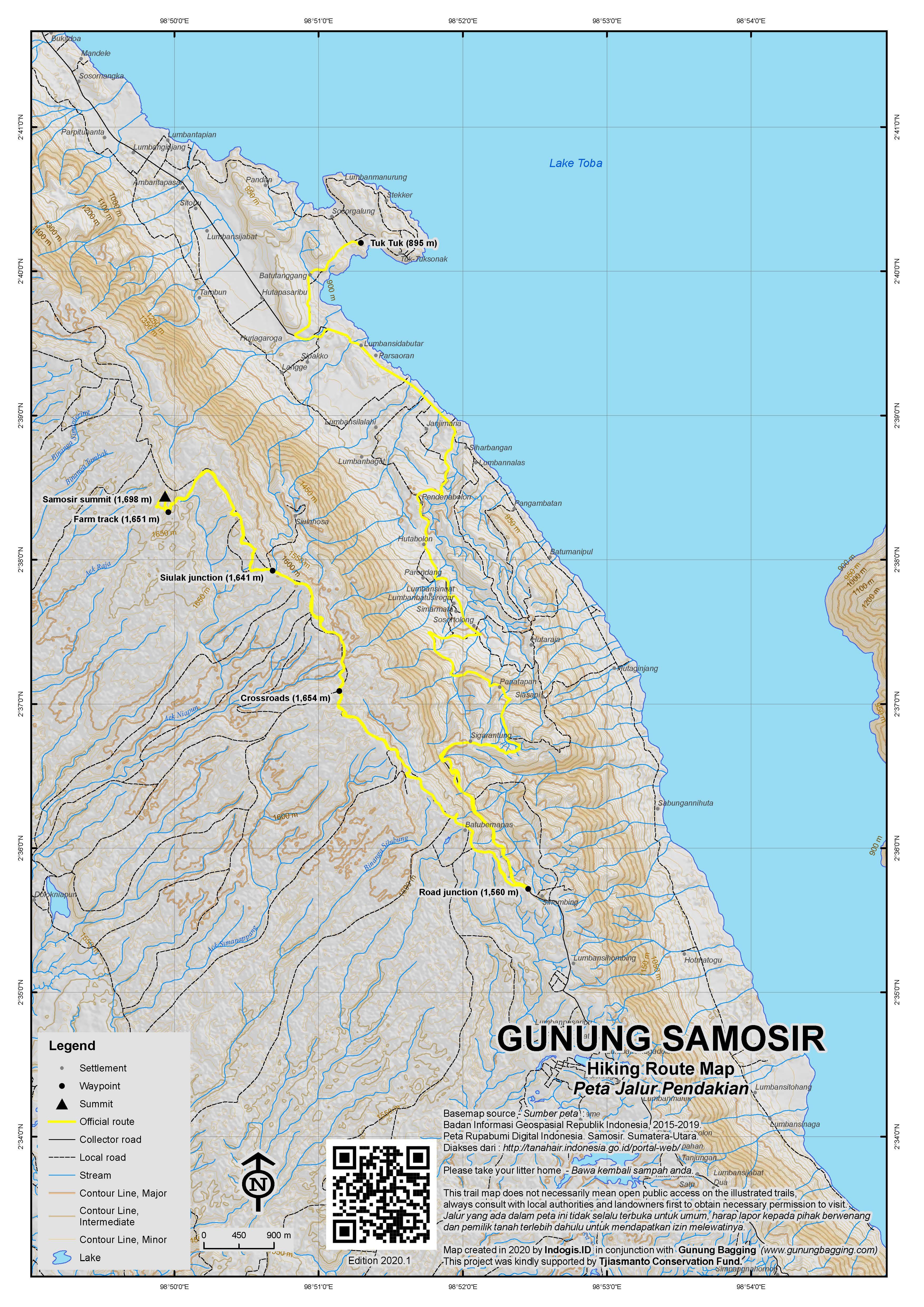 Peta Jalur Pendakian Gunung Samosir