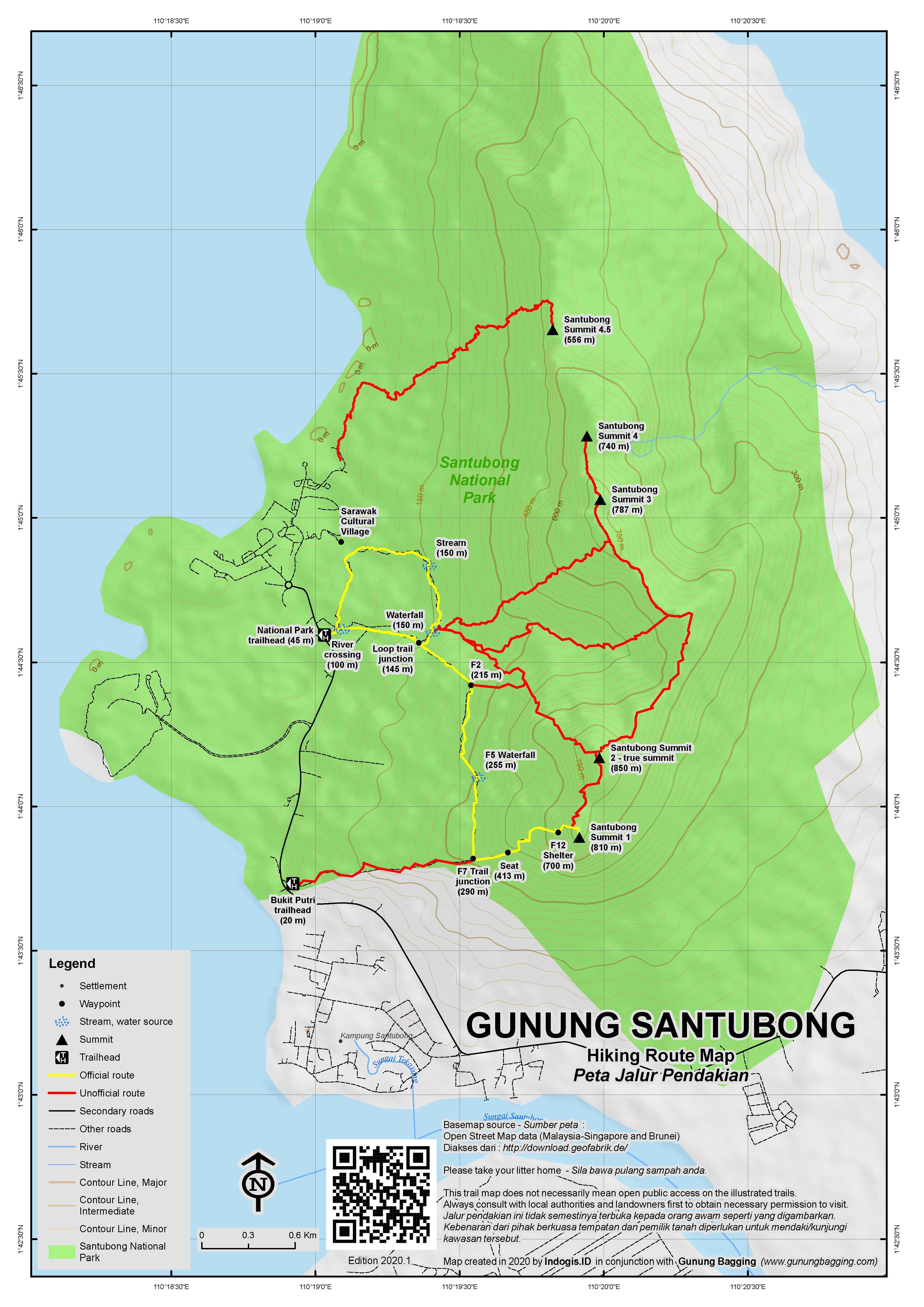 Peta Jalur Pendakian Gunung Santubong