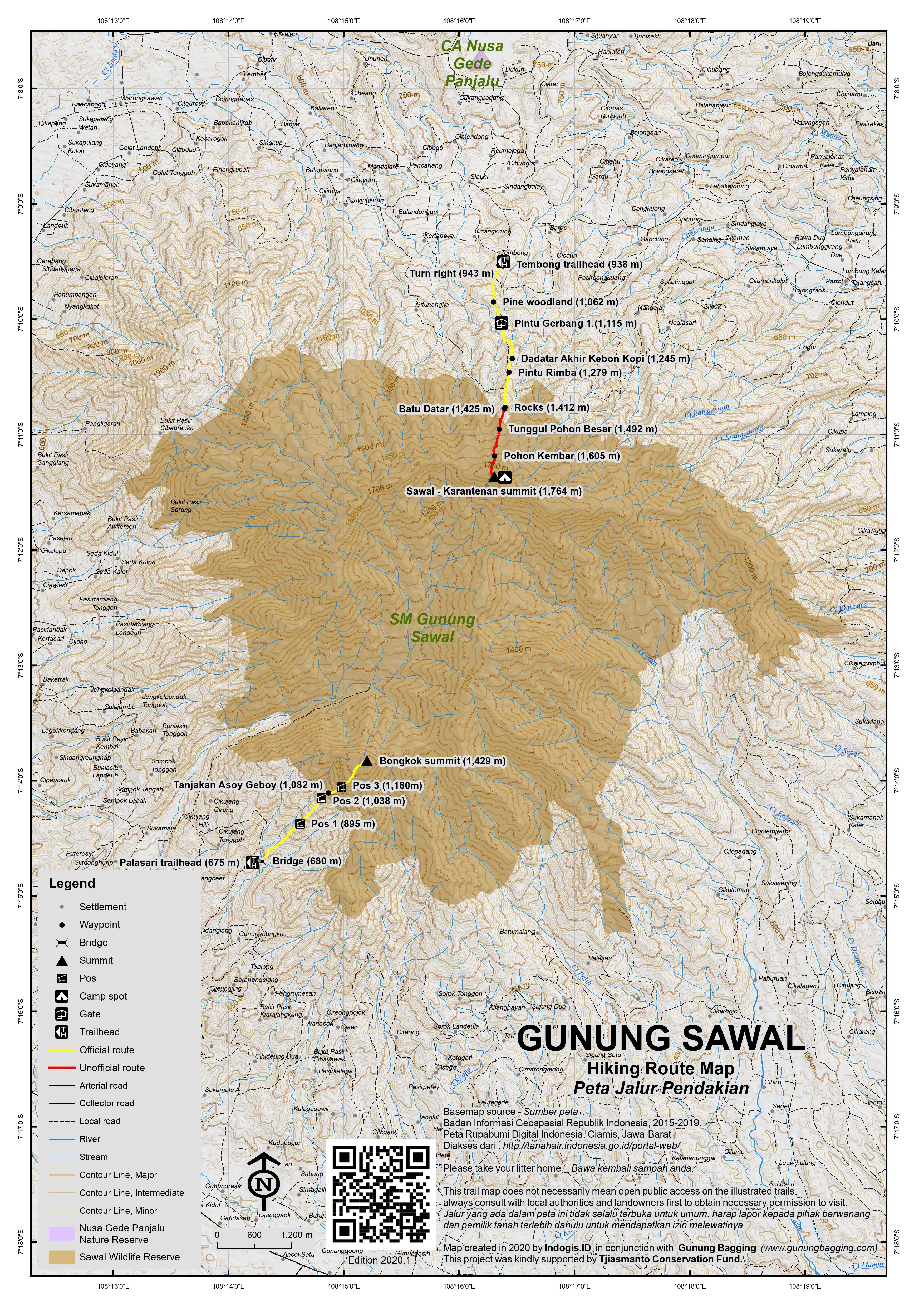 Peta Jalur Pendakian Gunung Sawal