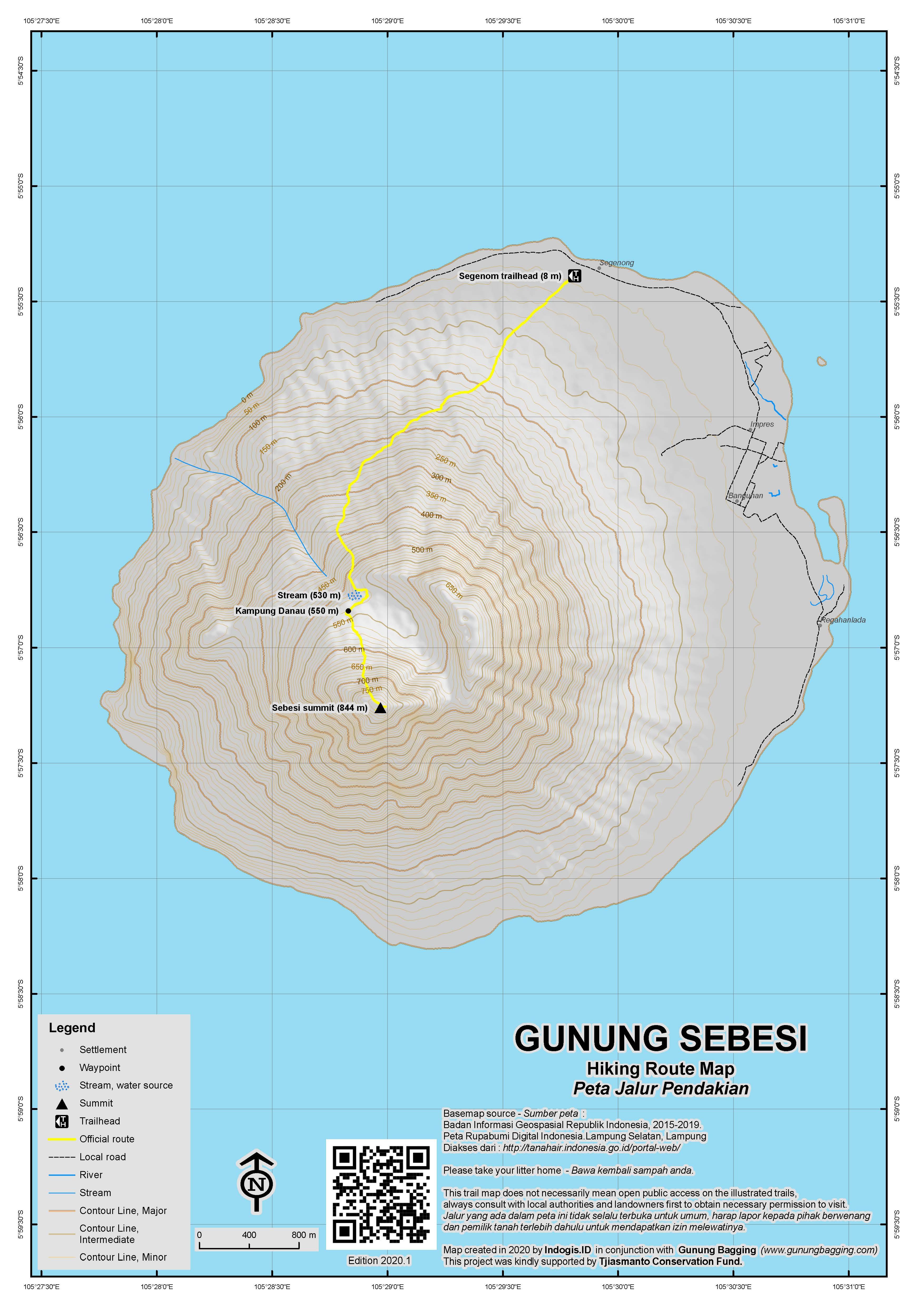 Peta Jalur Pendakian Gunung Sebesi