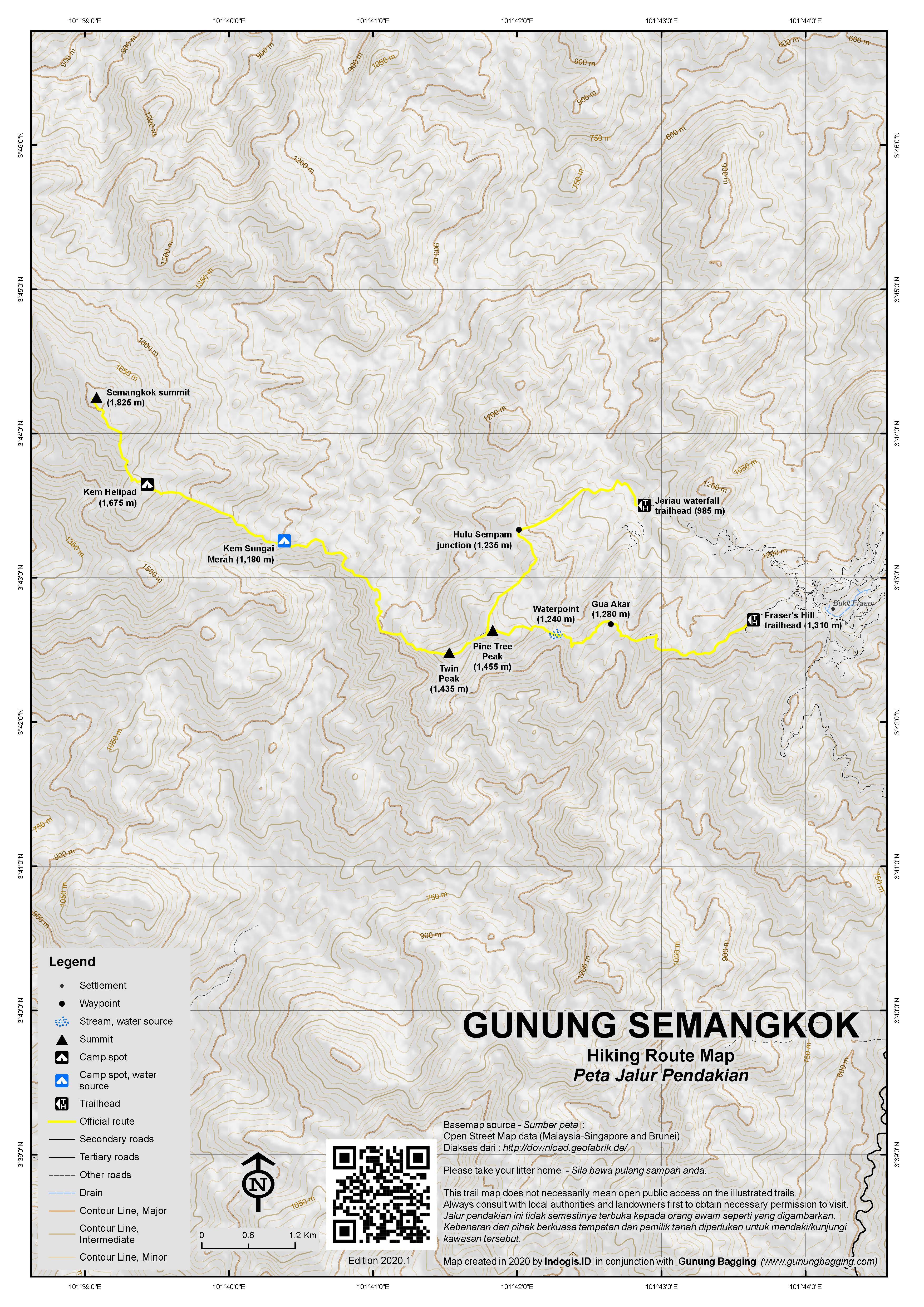 Peta Jalur Pendakian Gunung Semangkok