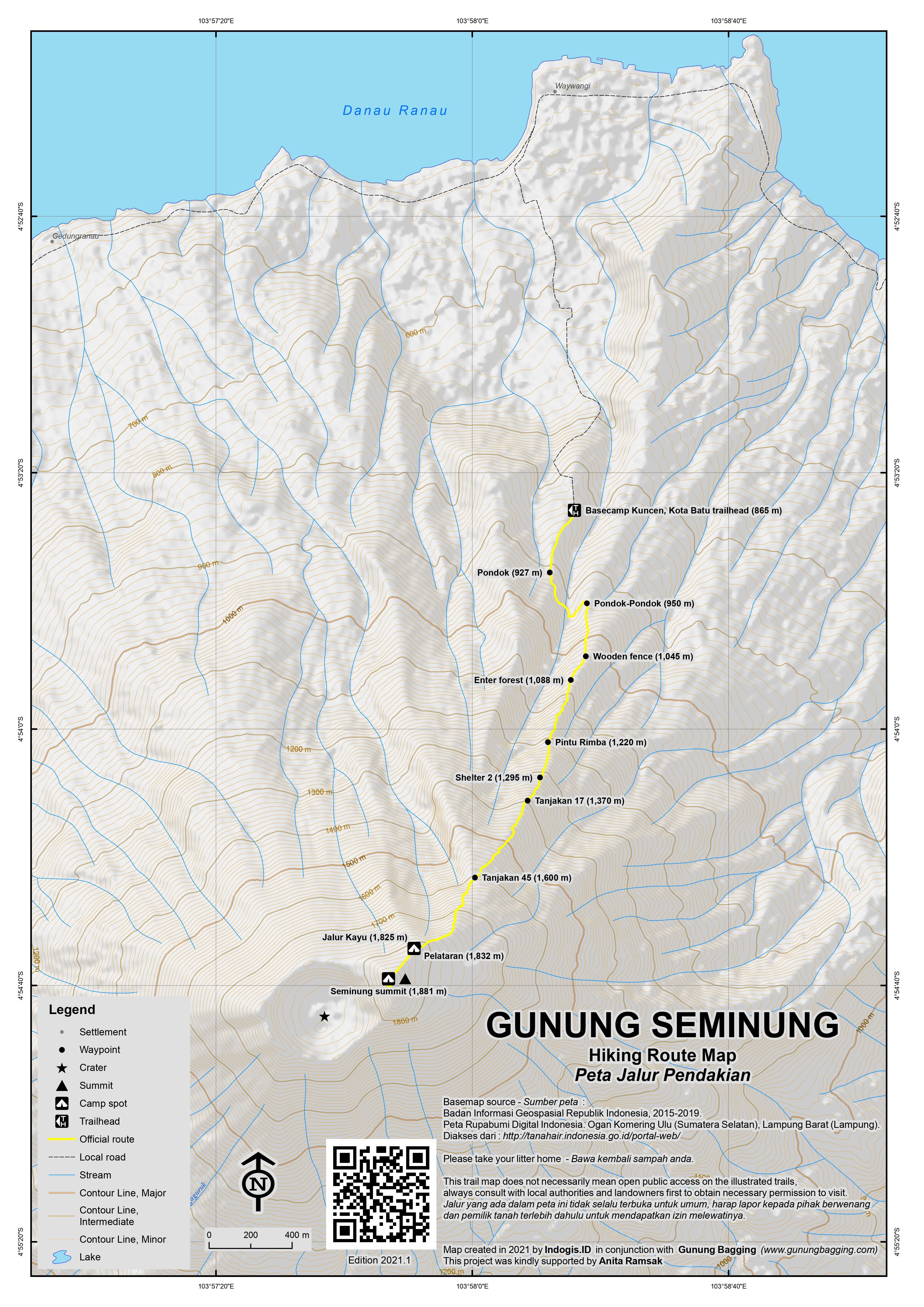 Peta Jalur Pendakian Gunung Seminung