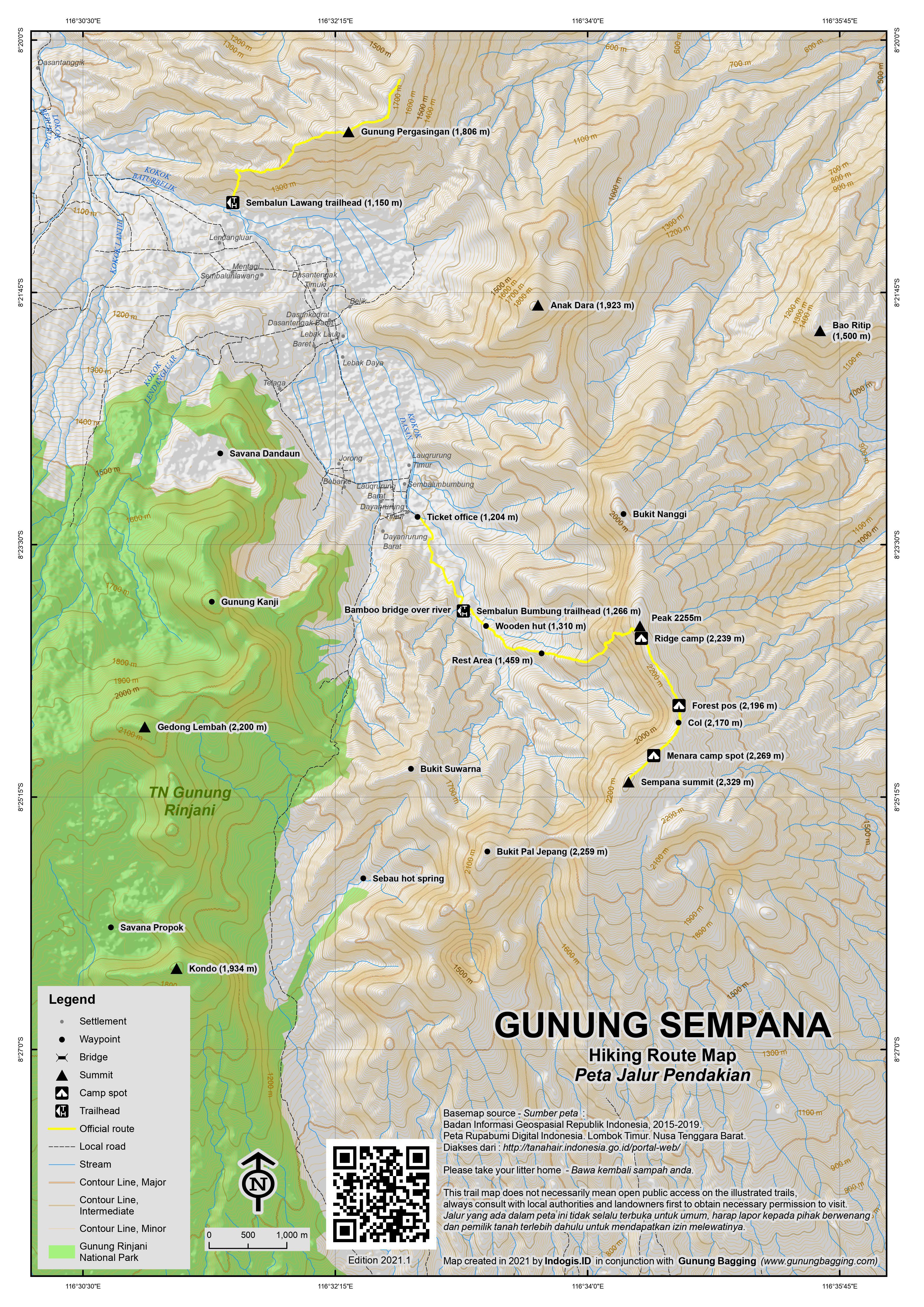 Peta Jalur Pendakian Gunung Sempana