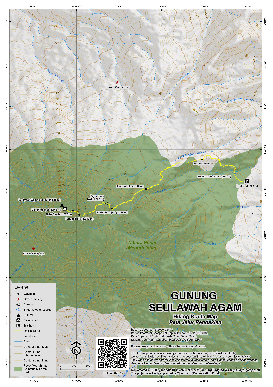 Peta Jalur Pendakian Gunung Seulawah Agam