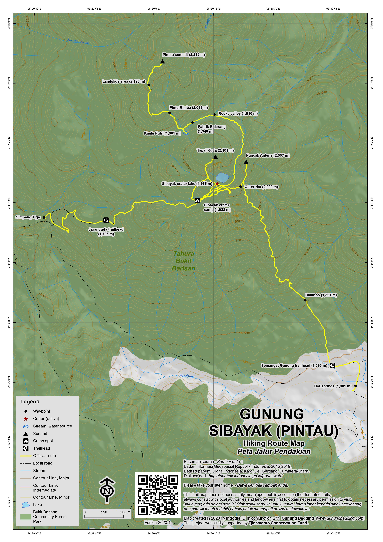 Peta Jalur Pendakian Gunung Sibayak