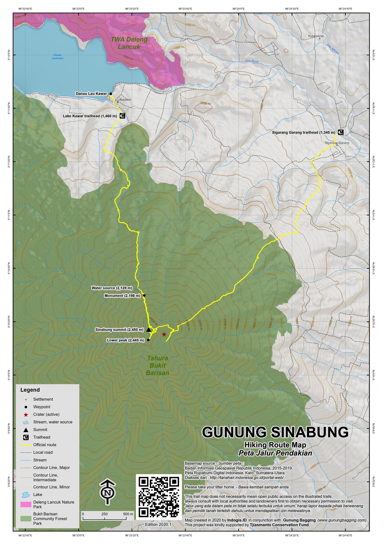 Peta Jalur Pendakian Gunung Sinabung