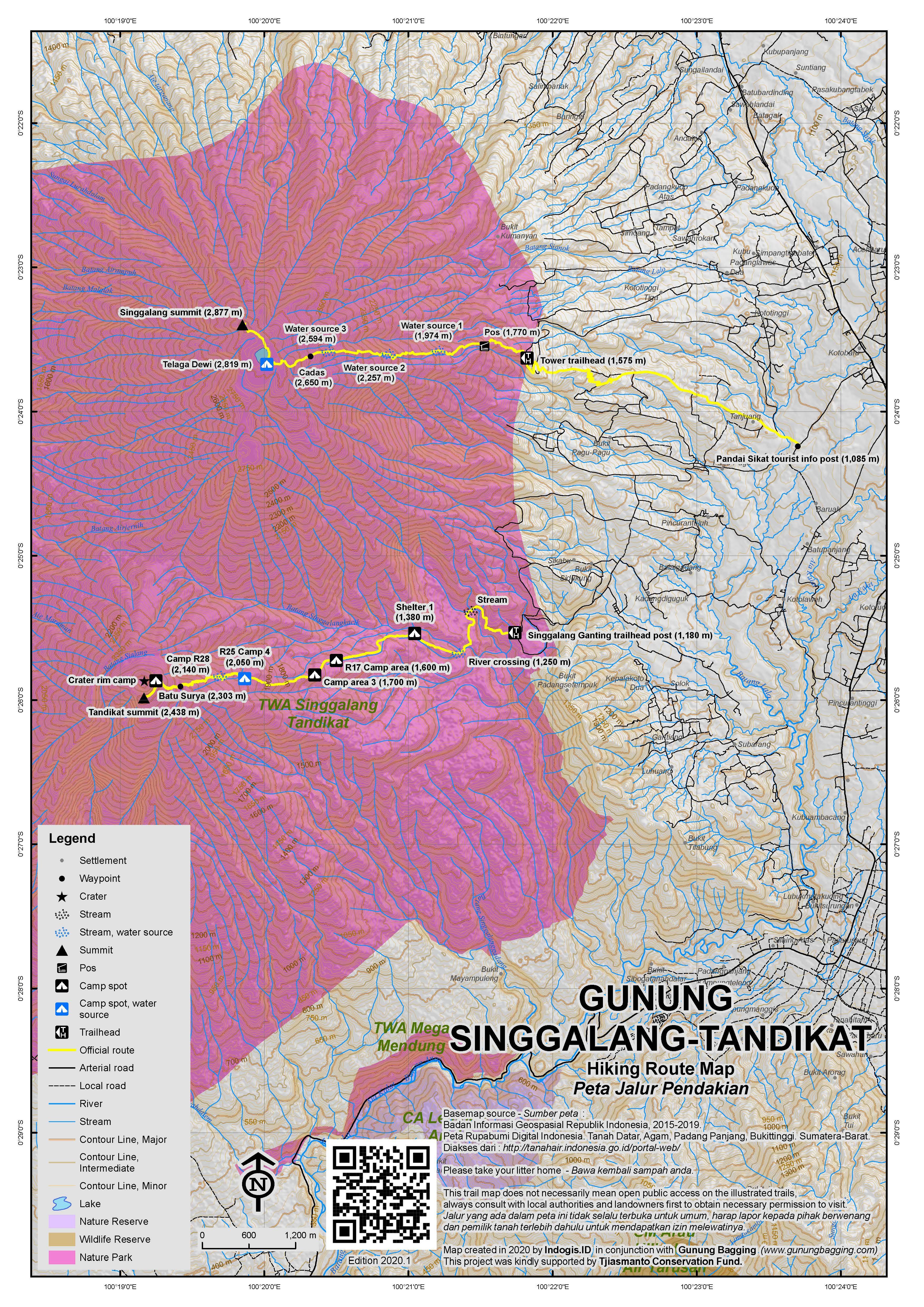 Peta Jalur Pendakian Gunung Singgalang-Tandikat