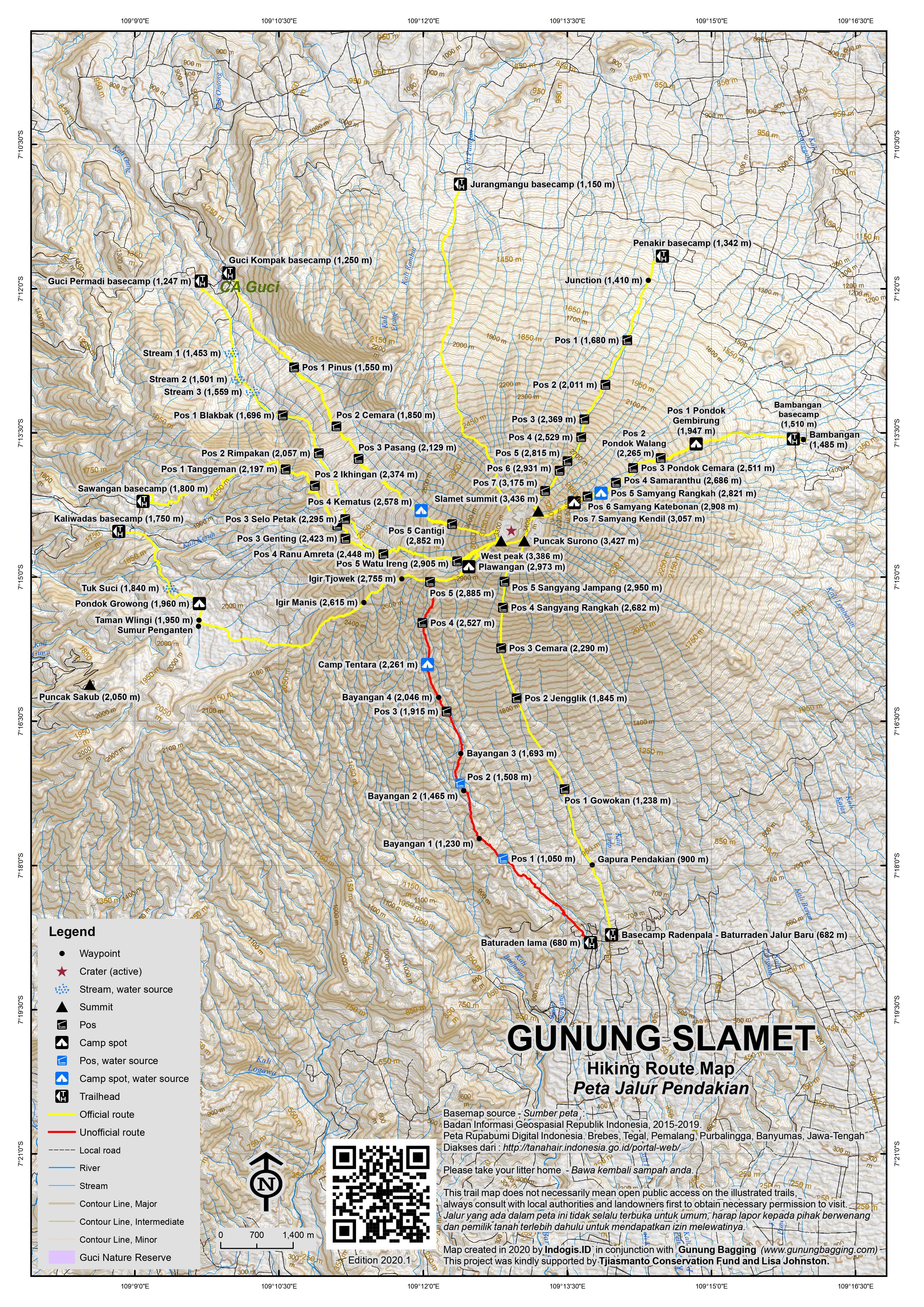 Peta Jalur Pendakian Gunung Slamet