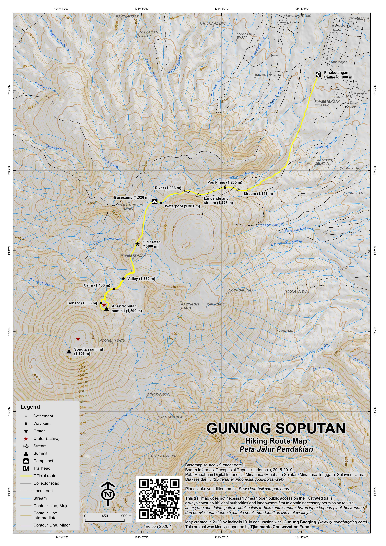 Peta Jalur Pendakian Gunung Soputan