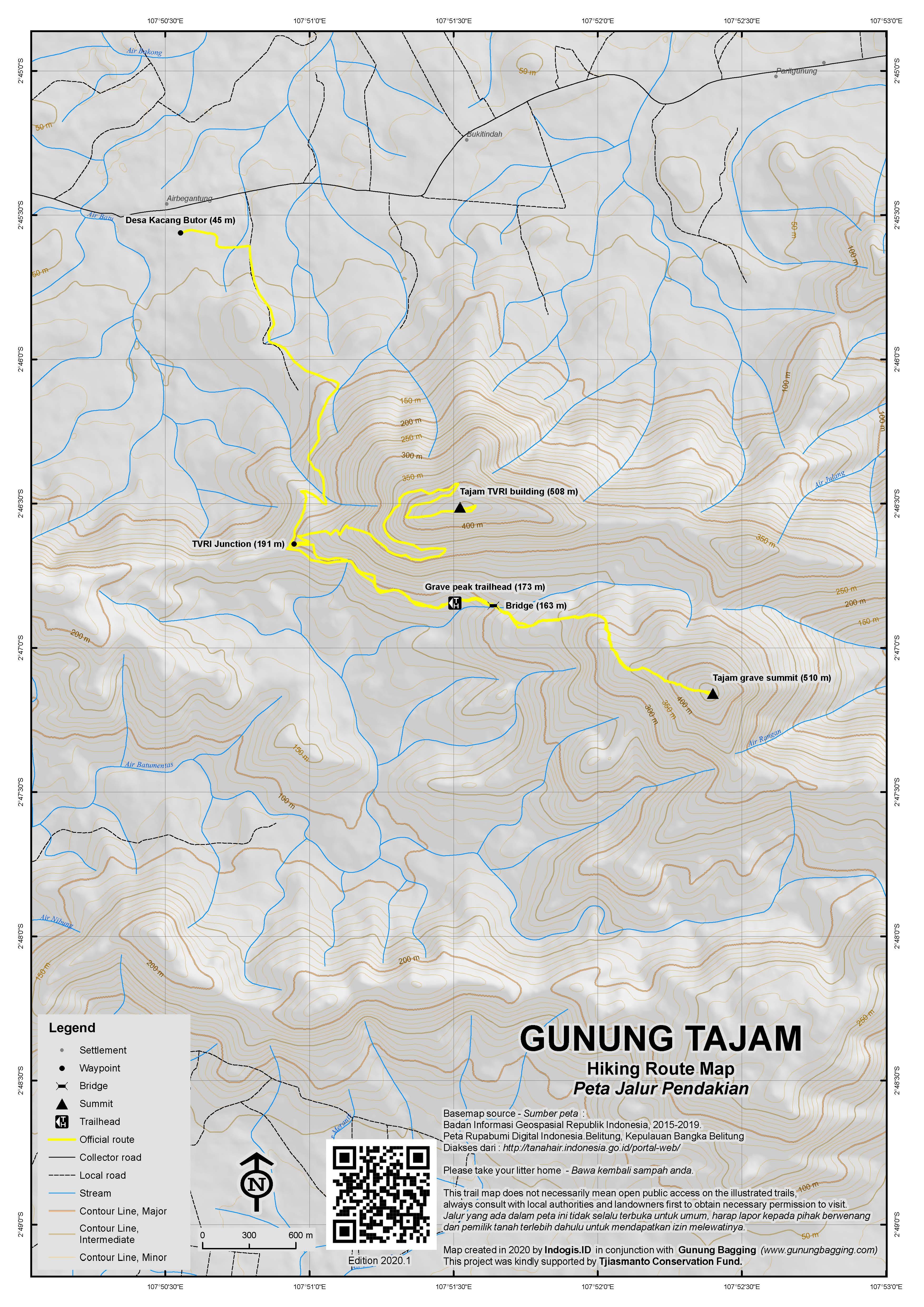 Peta Jalur Pendakian Gunung Tajam