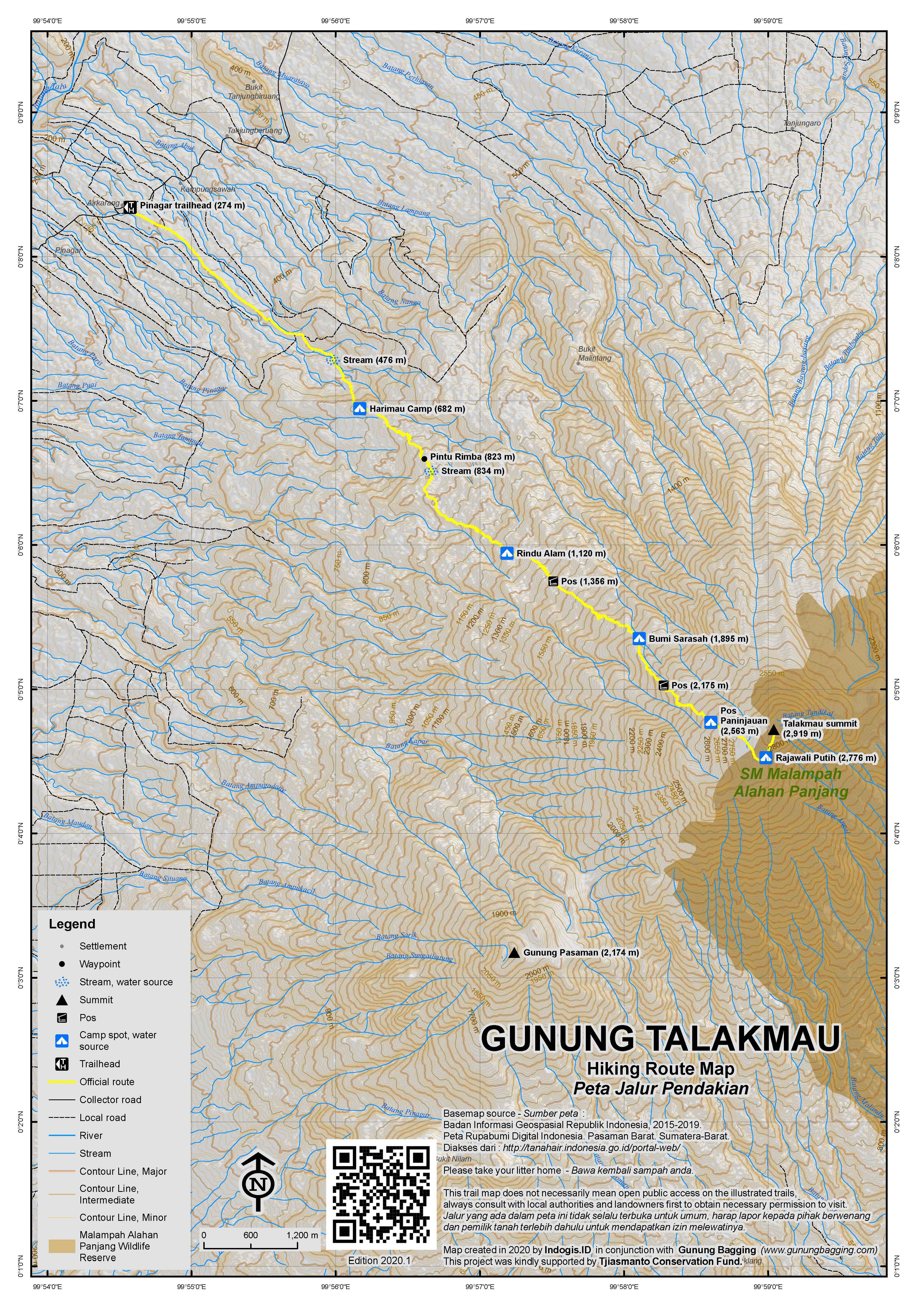 Peta Jalur Pendakian Gunung Talakmau