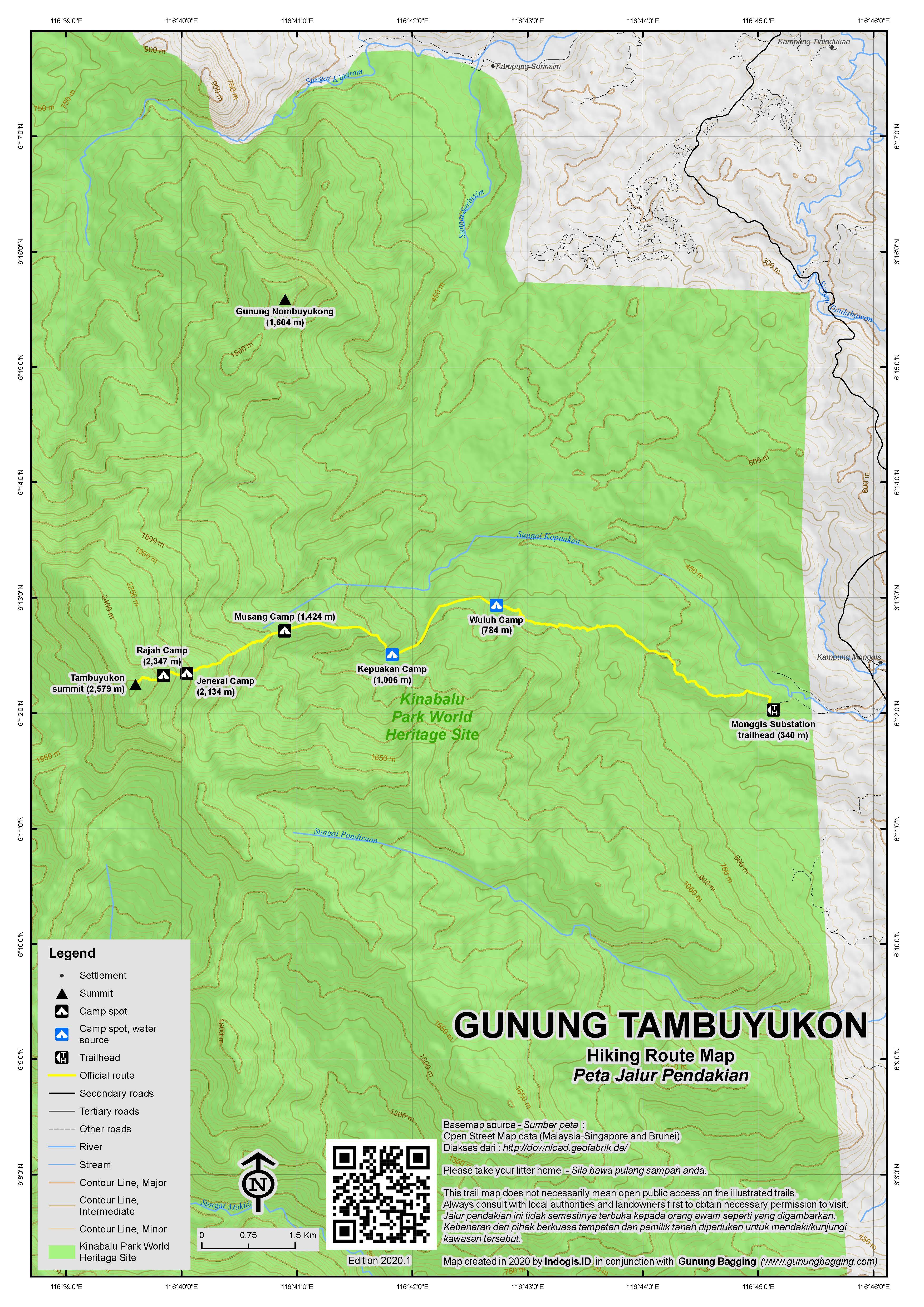 Peta Jalur Pendakian Gunung Tambuyukon