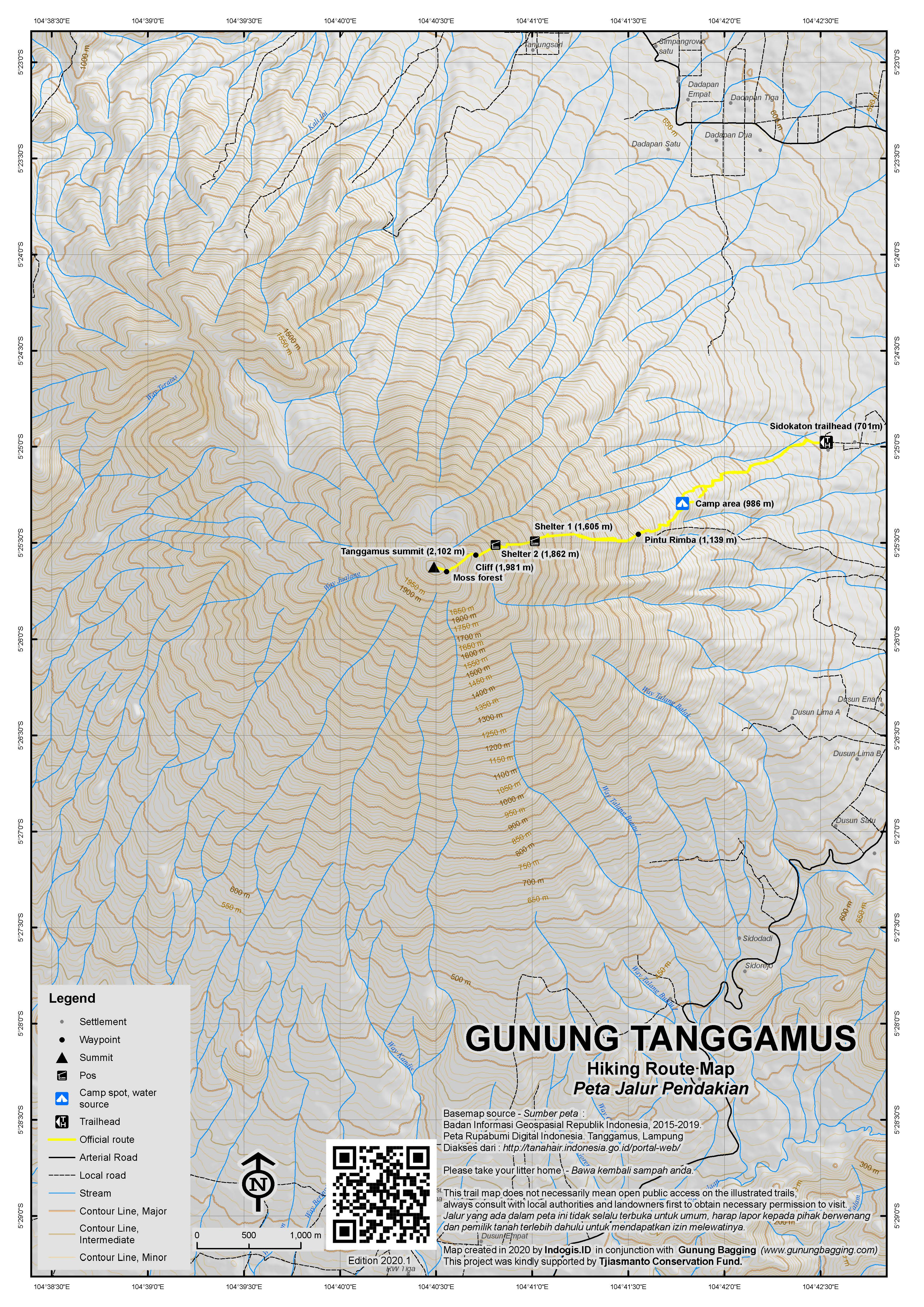 Peta Jalur Pendakian Gunung Tanggamus