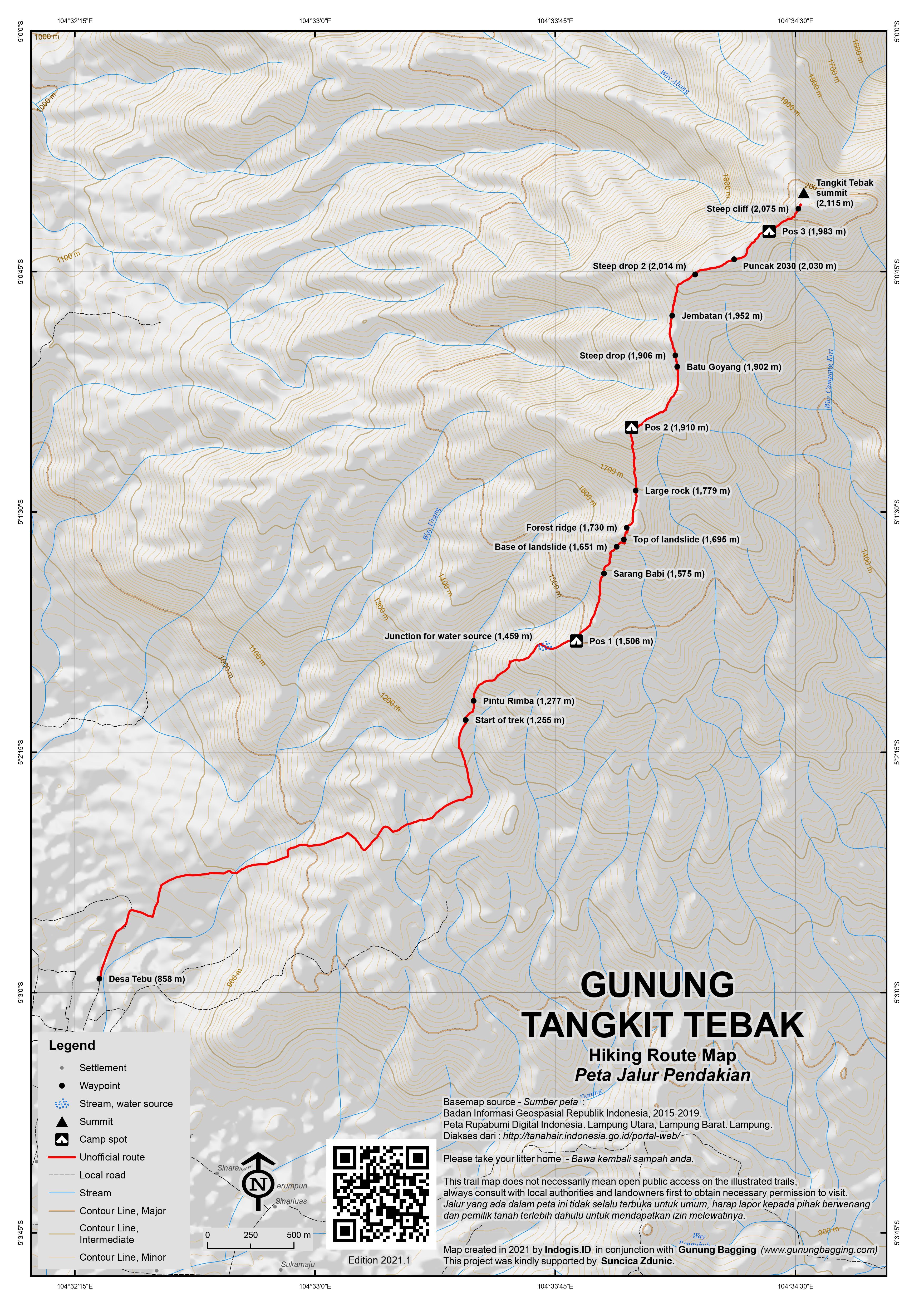 Peta Jalur Pendakian Gunung Tangkit Tebak