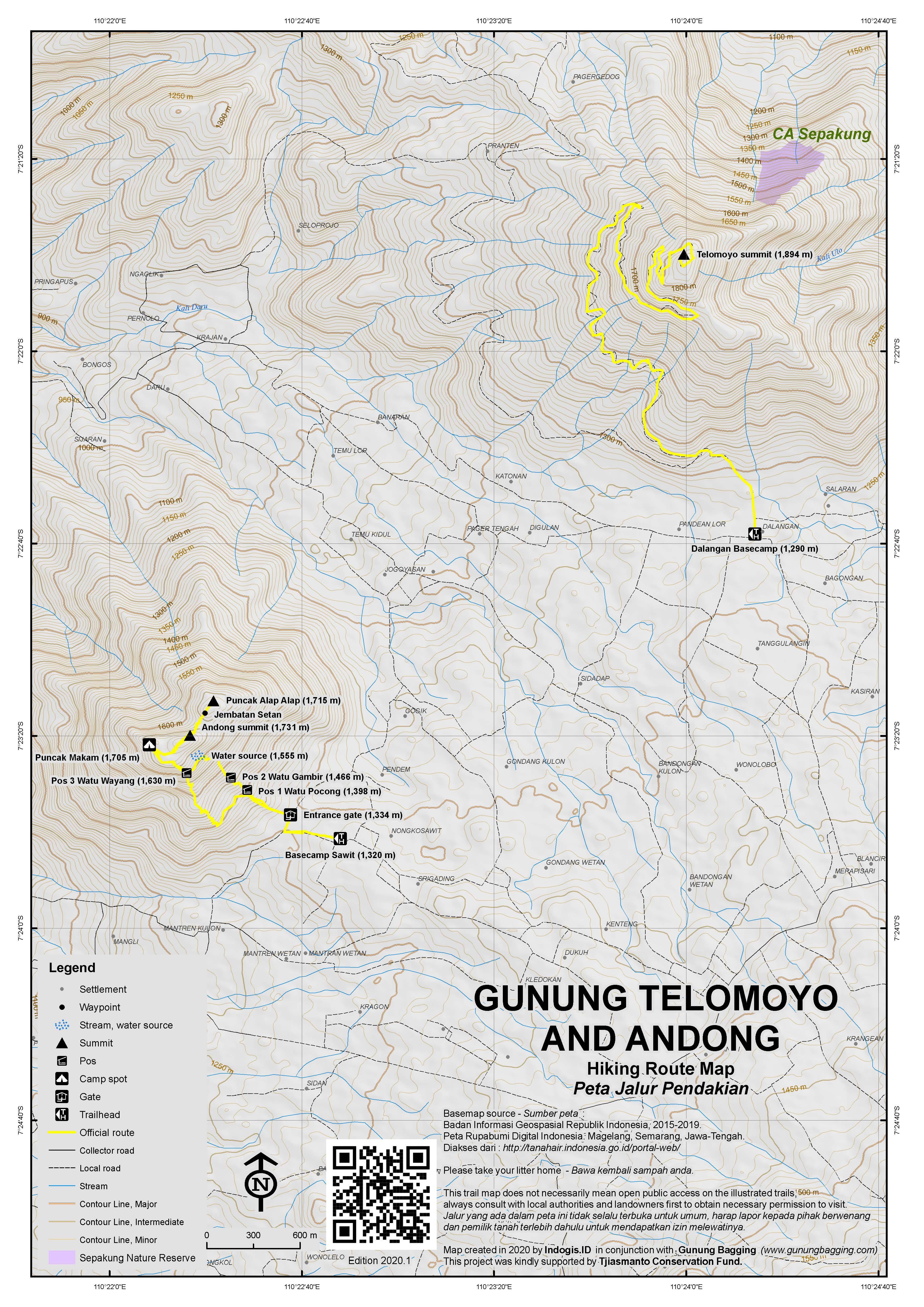 Peta Jalur Pendakian Gunung Telomoyo Andong