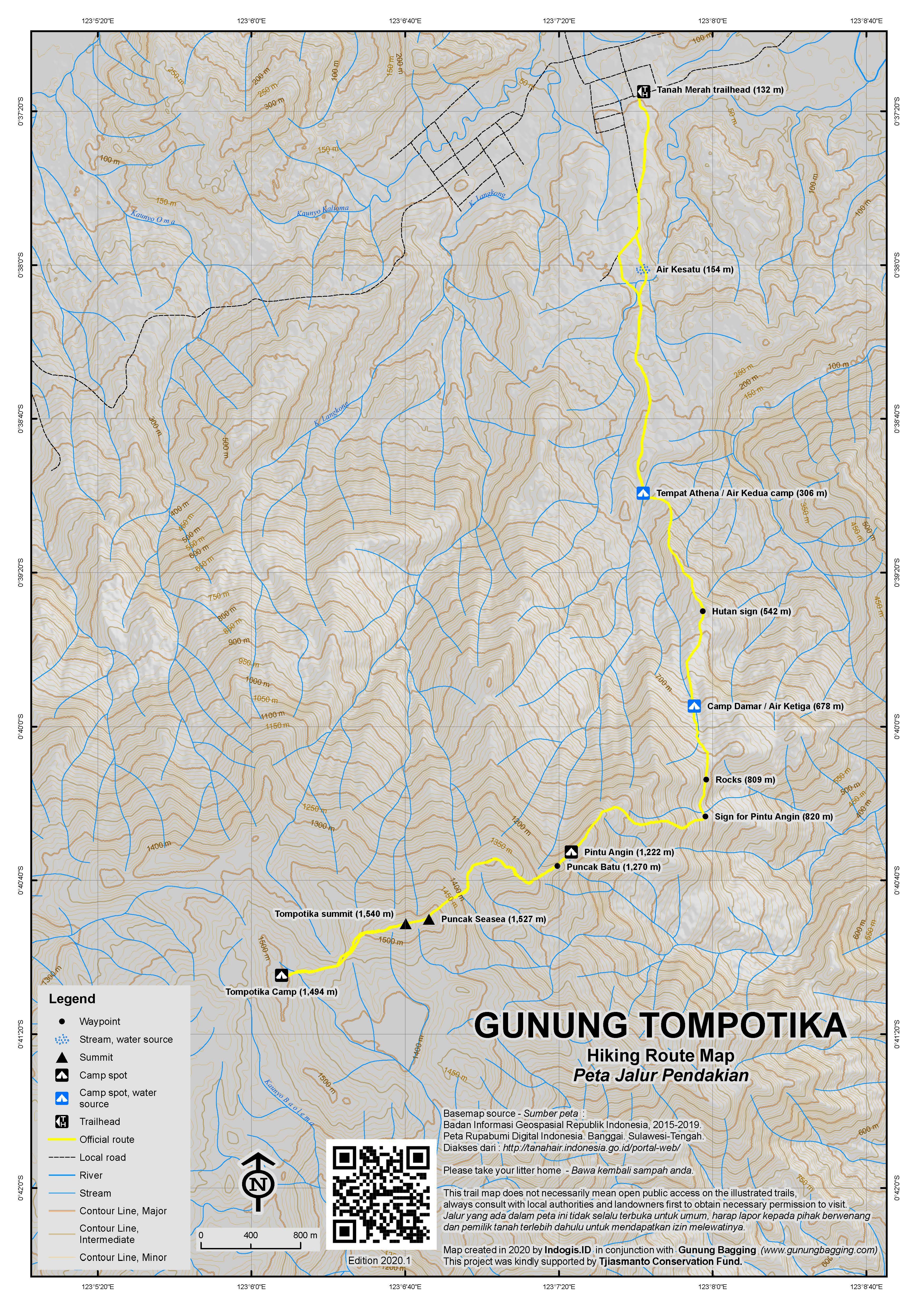 Peta Jalur Pendakian Gunung Tompotika