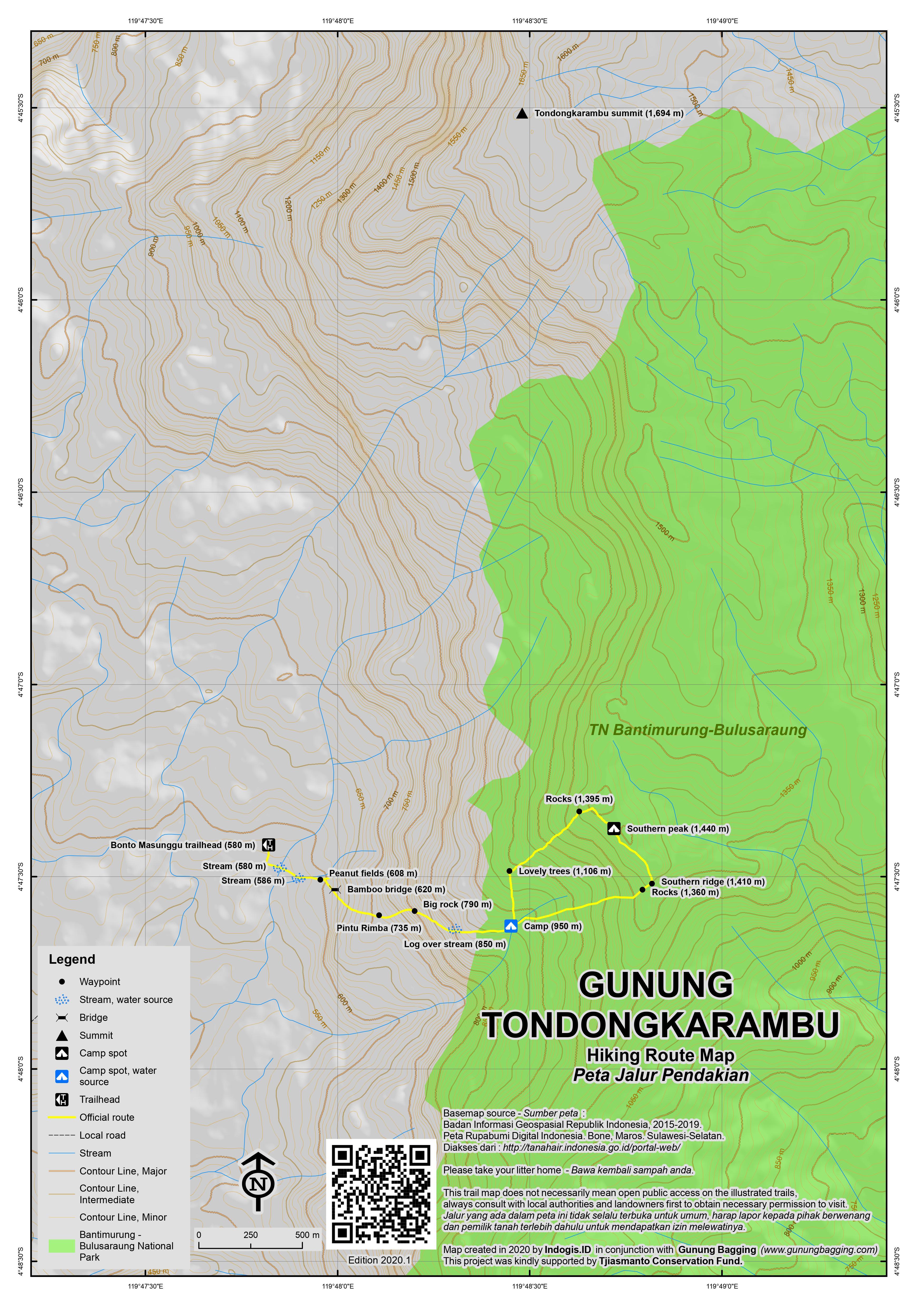 Peta Jalur Pendakian Gunung Tondongkarambu