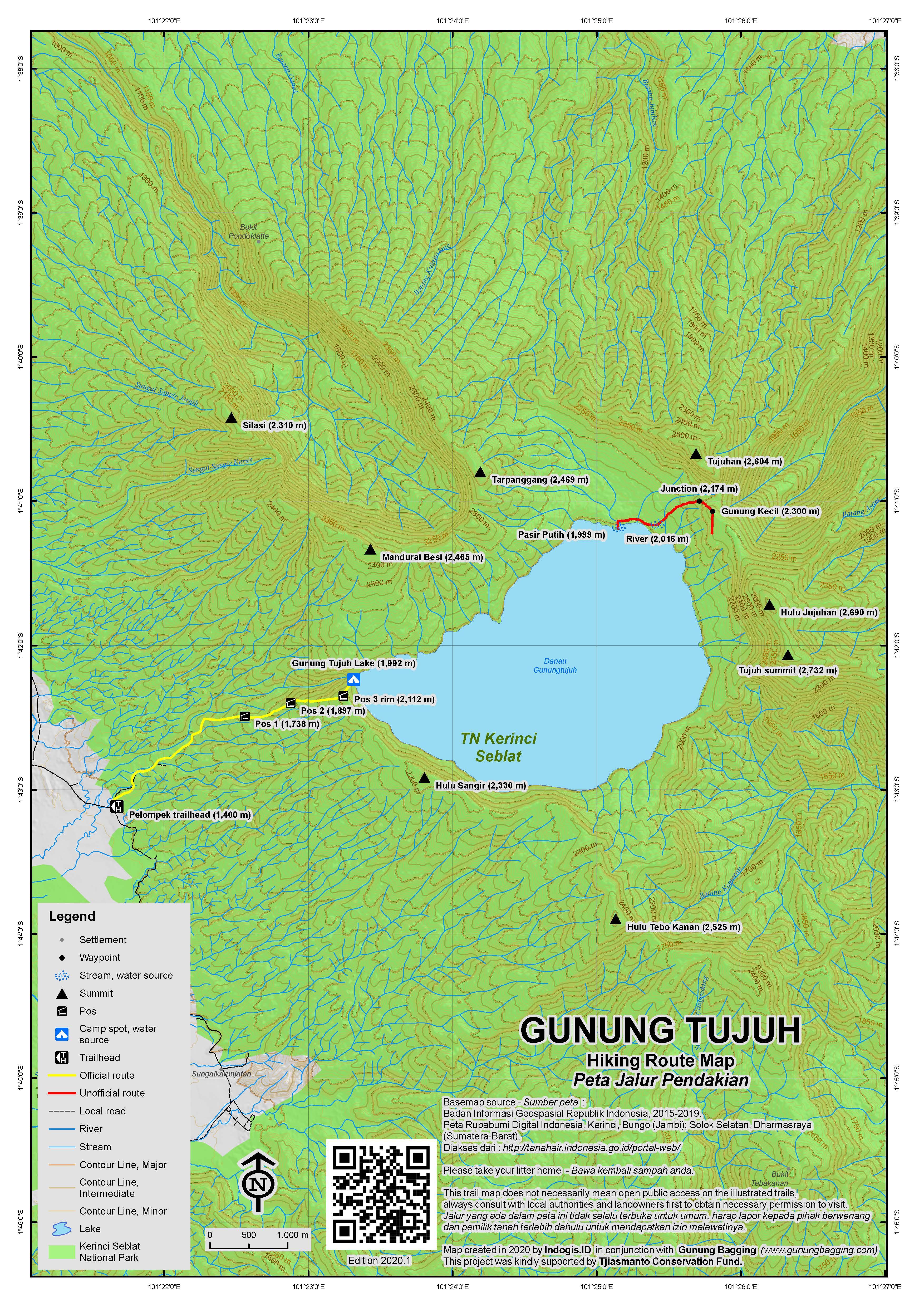 Peta Jalur Pendakian Gunung Tujuh