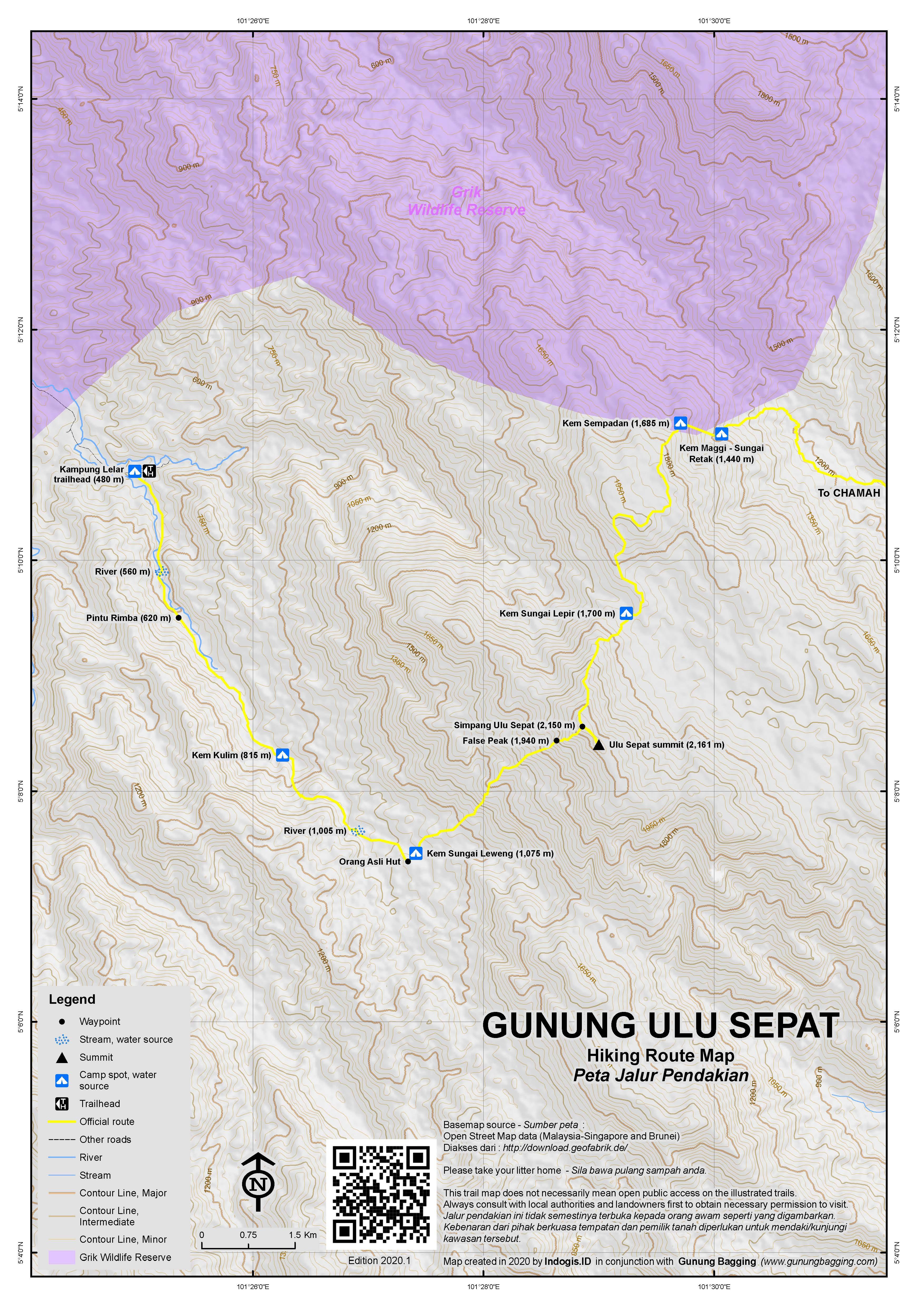 Peta Jalur Pendakian Gunung Ulu Sepat