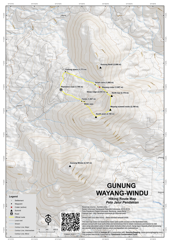 Peta Jalur Pendakian Gunung Wayang-Windu