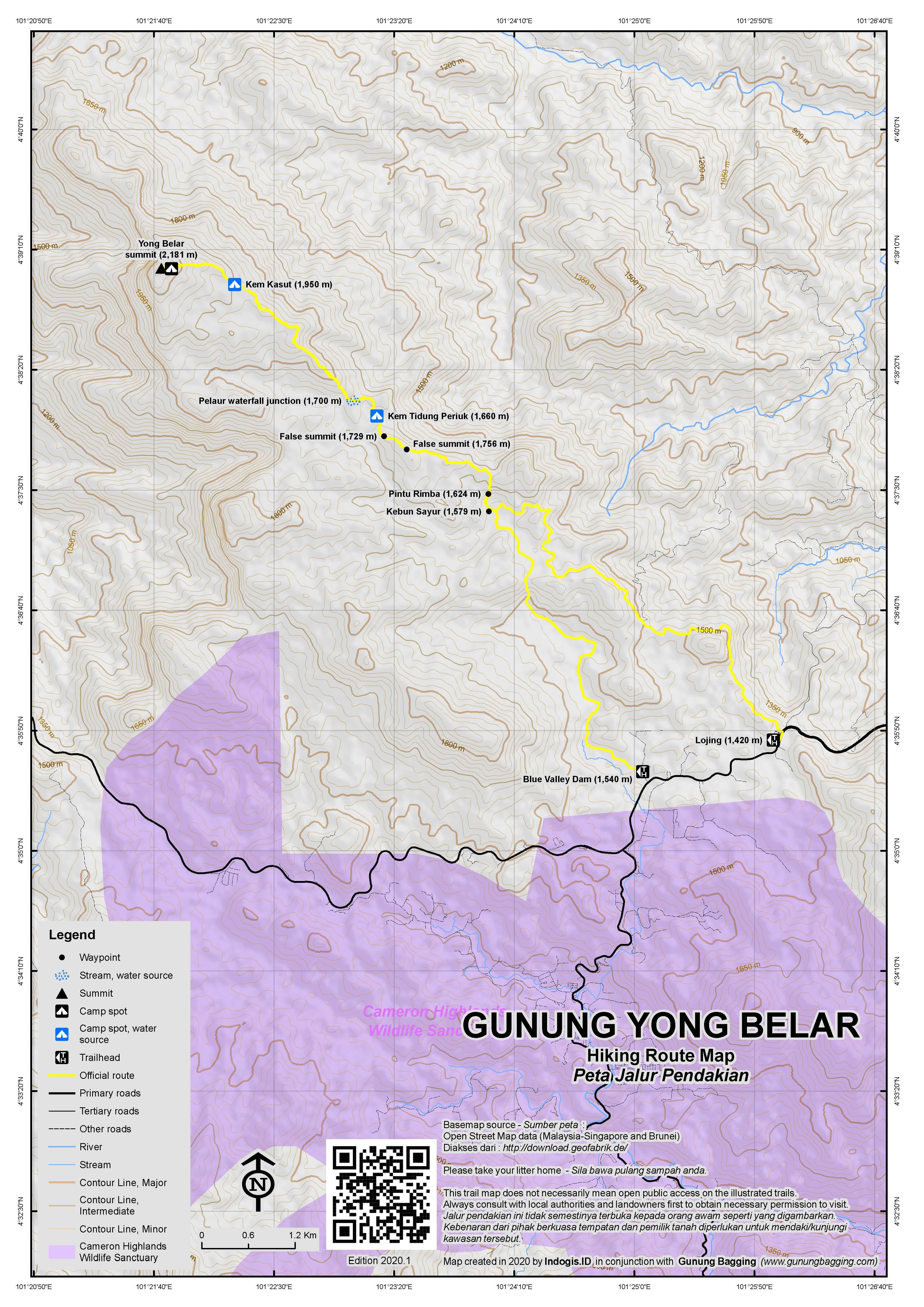 Peta Jalur Pendakian Gunung Yong Belar