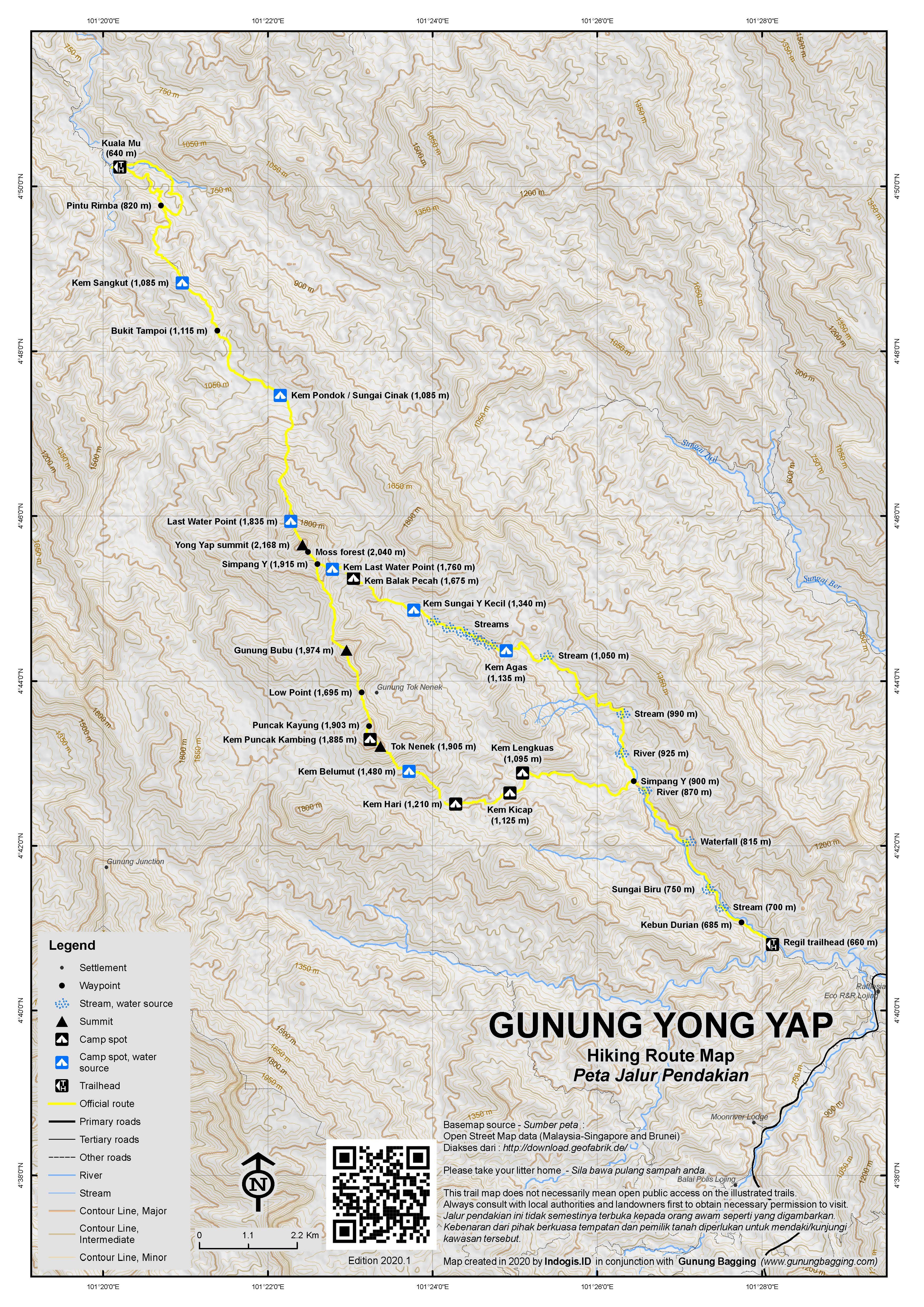 Peta Jalur Pendakian Gunung Yong Yap