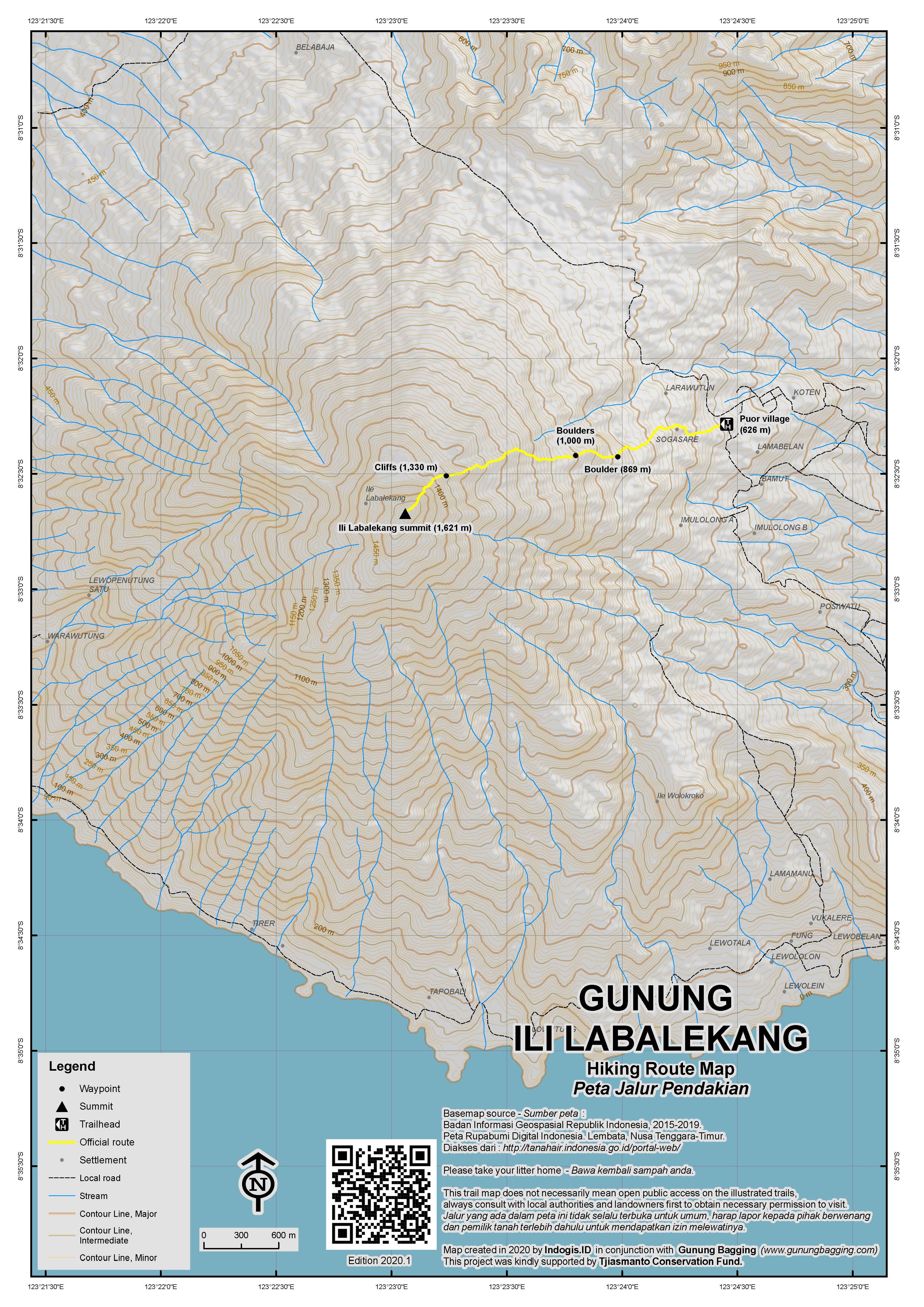Peta Jalur Pendakian Ili Labalekang